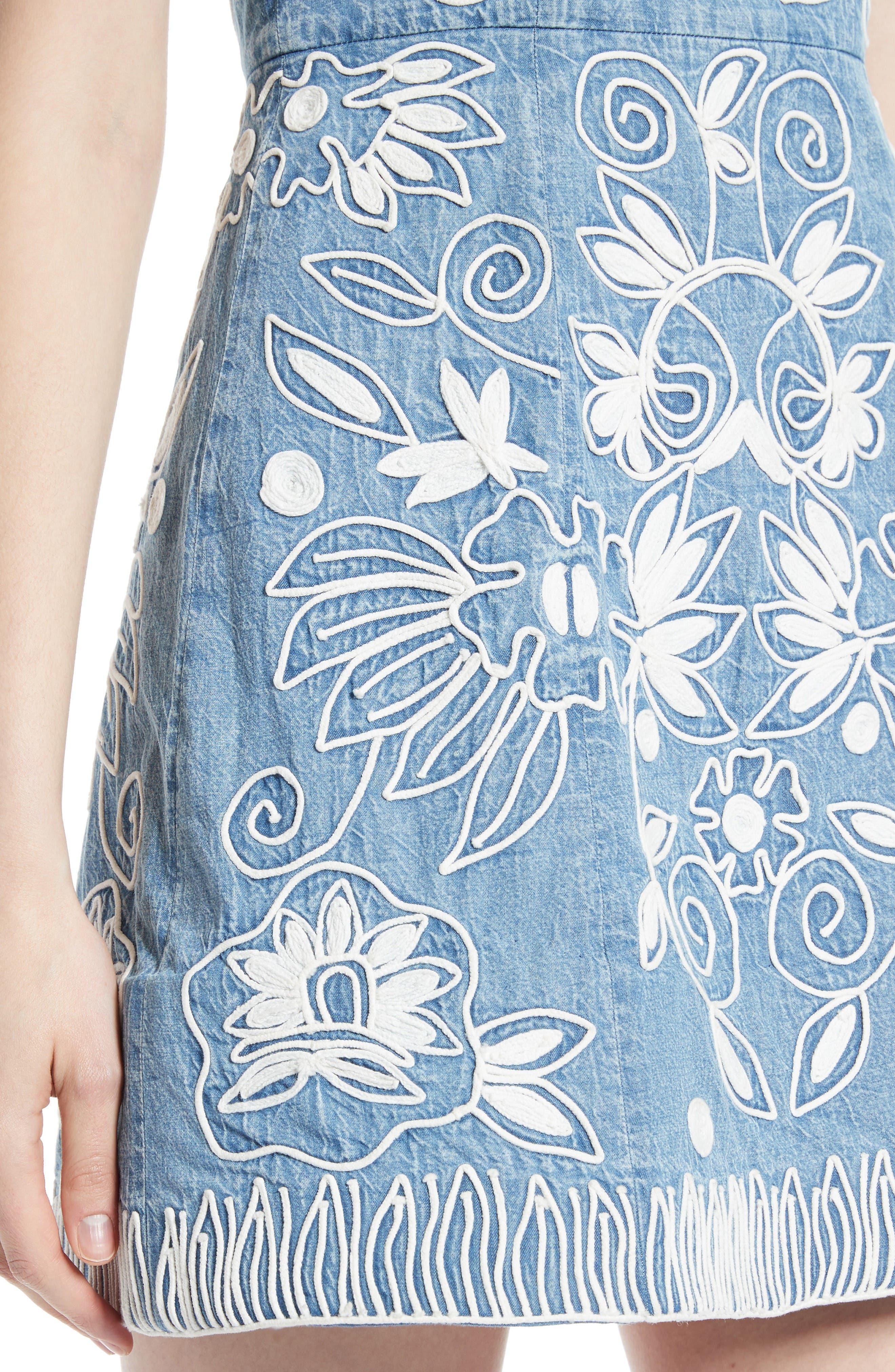 Alternate Image 4  - Alice + Olivia Lindsey Embroidered A-Line Dress