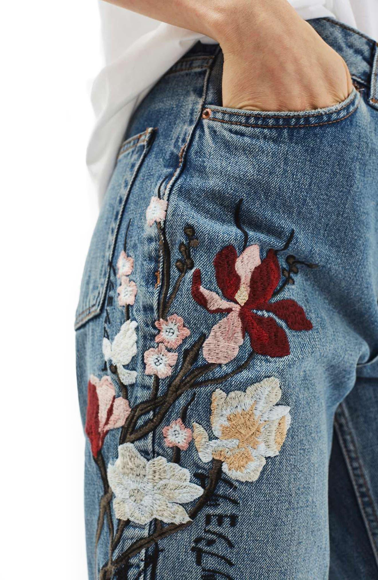 Alternate Image 5  - Topshop Mom Embroidered Jeans