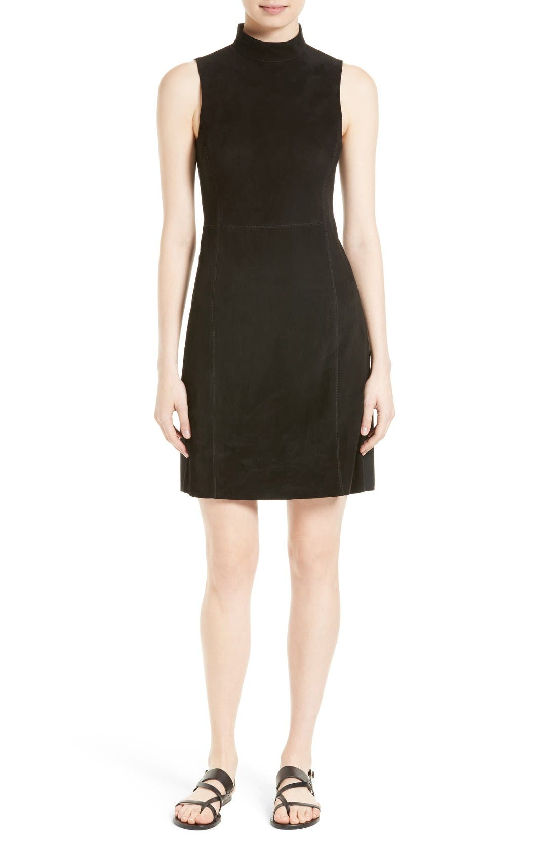 THEORY Eulia Tidle Suede Front Mock Neck Dress