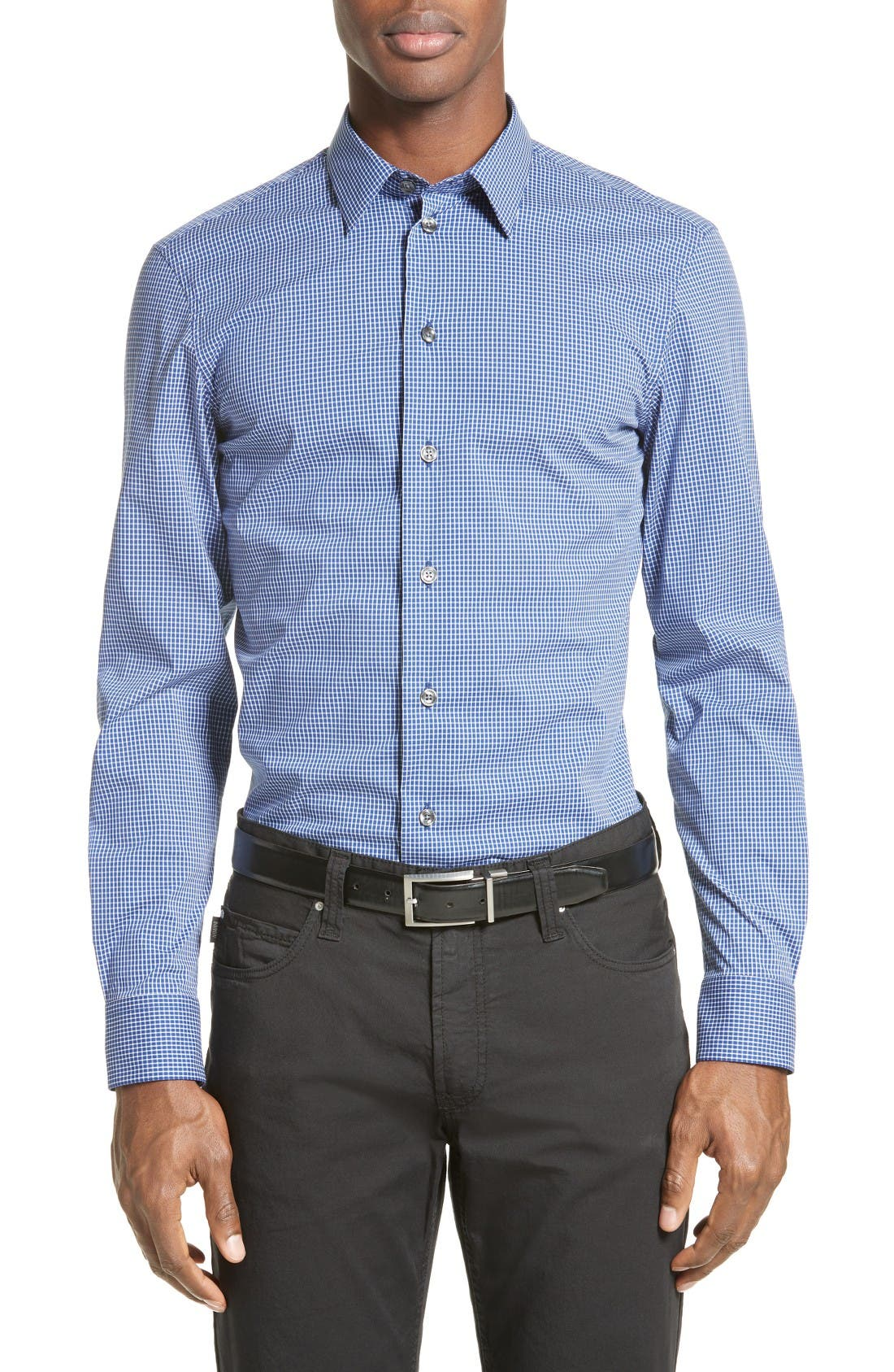 ARMANI COLLEZIONI Trim Fit Gingham Sport Shirt
