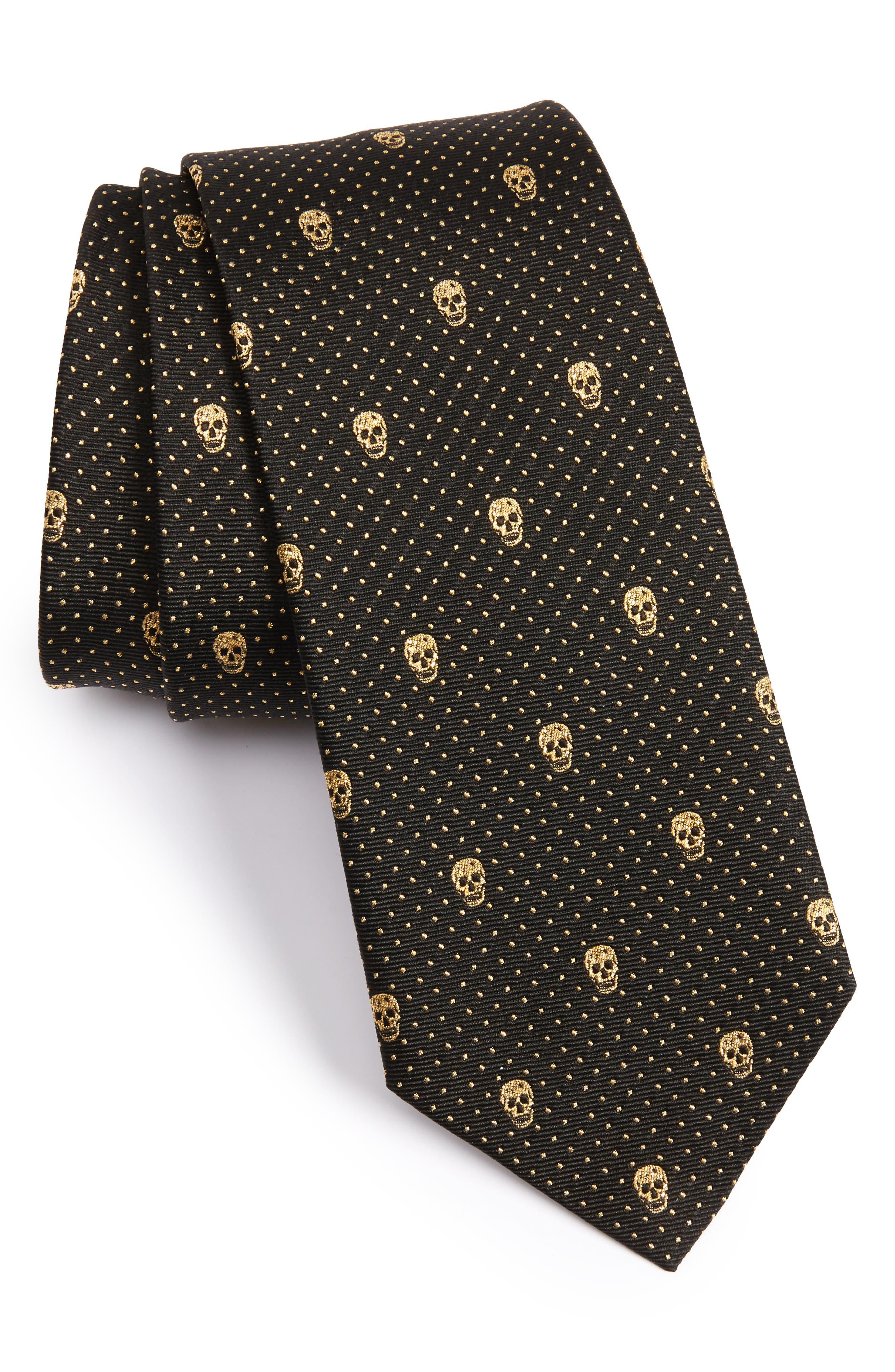 ALEXANDER MCQUEEN Metallic Skull Silk Blend Tie