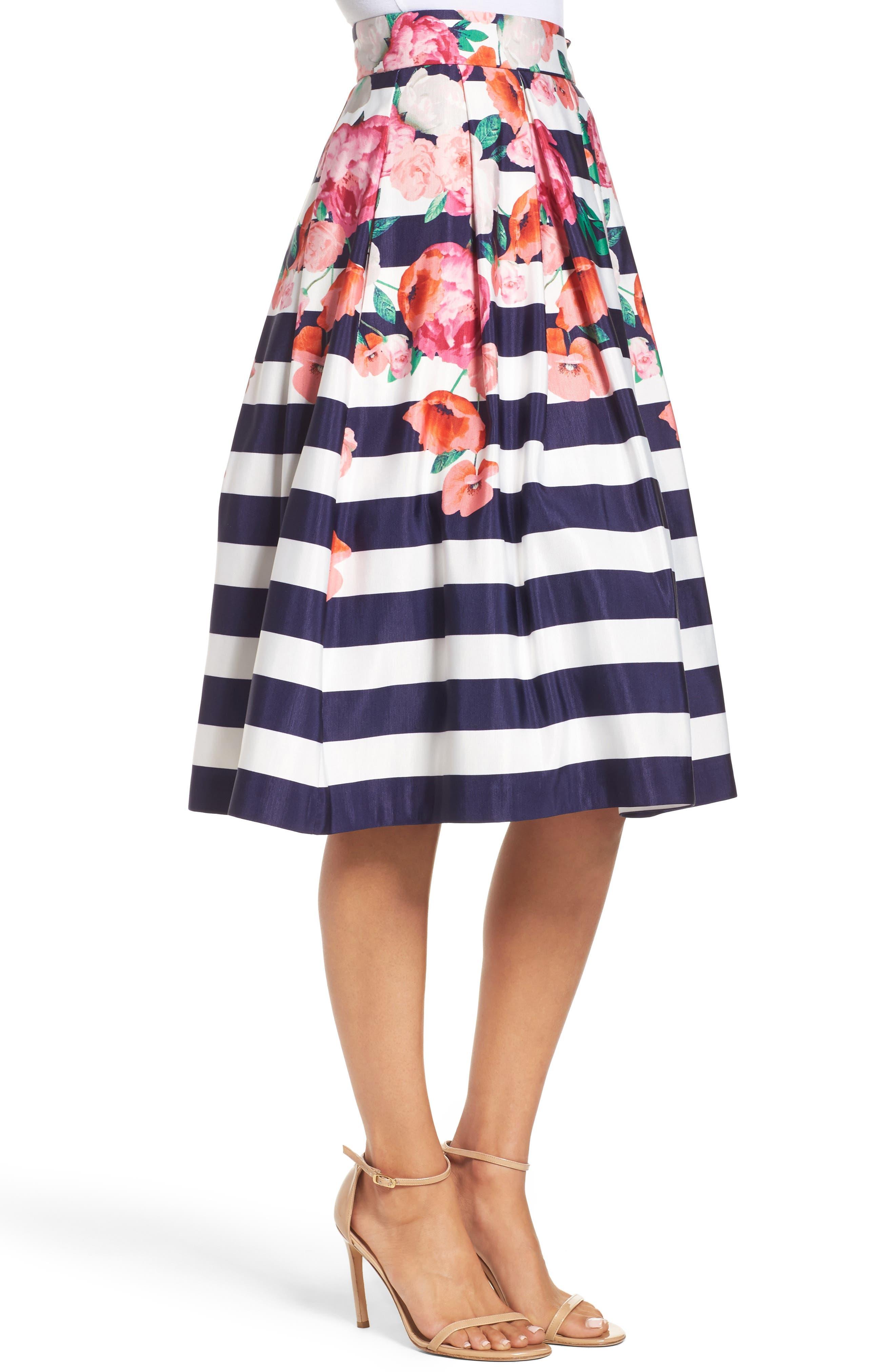 Alternate Image 3  - Eliza J Floral Stripe Midi Skirt
