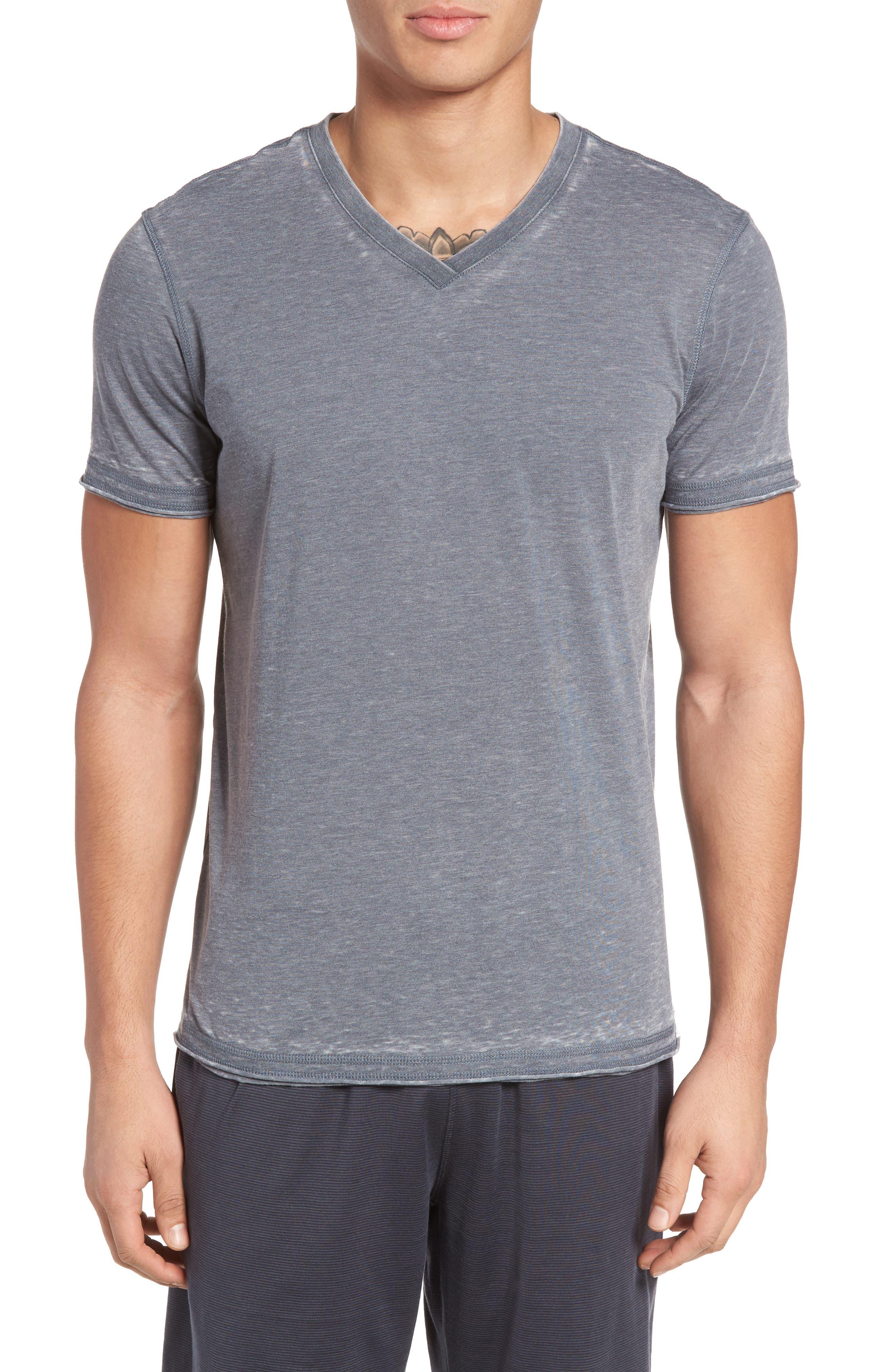 Daniel Buchler Burnout Cotton Blend V-Neck T-Shirt