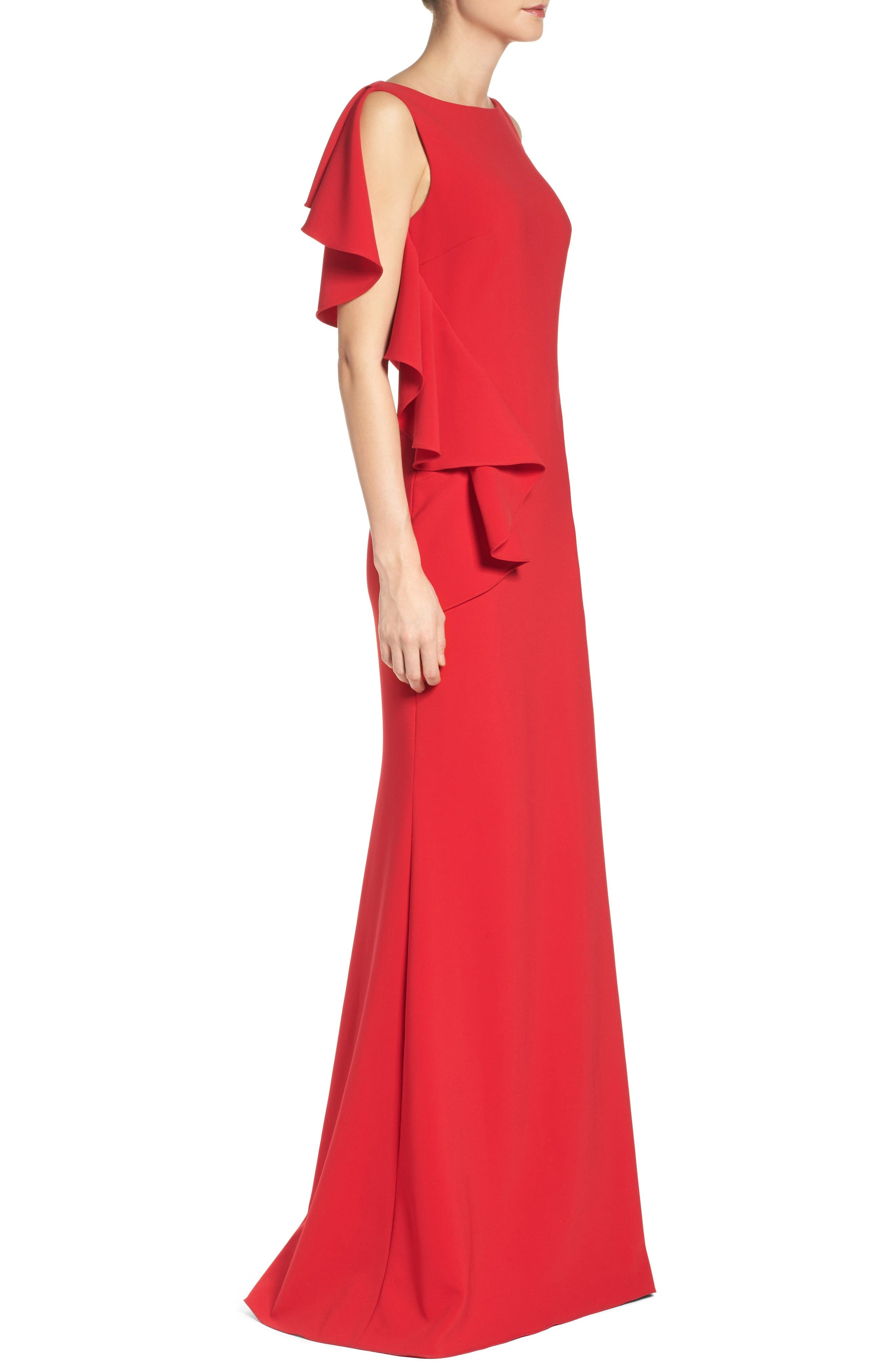 Alternate Image 3  - Badgley Mischka Ruffle Stretch Gown