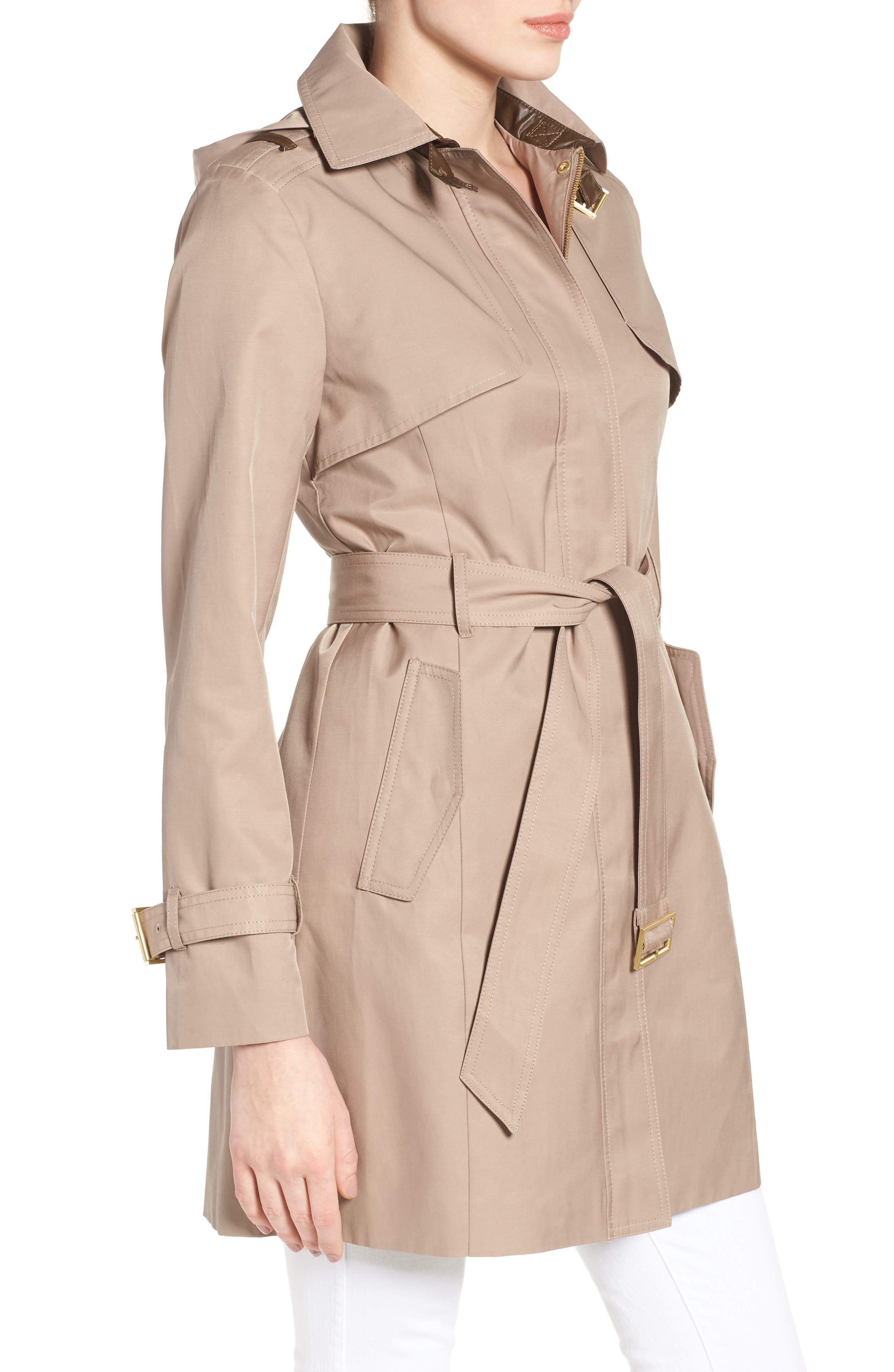 Alternate Image 3  - Cole Haan Signature Faux Leather Trim Trench Coat
