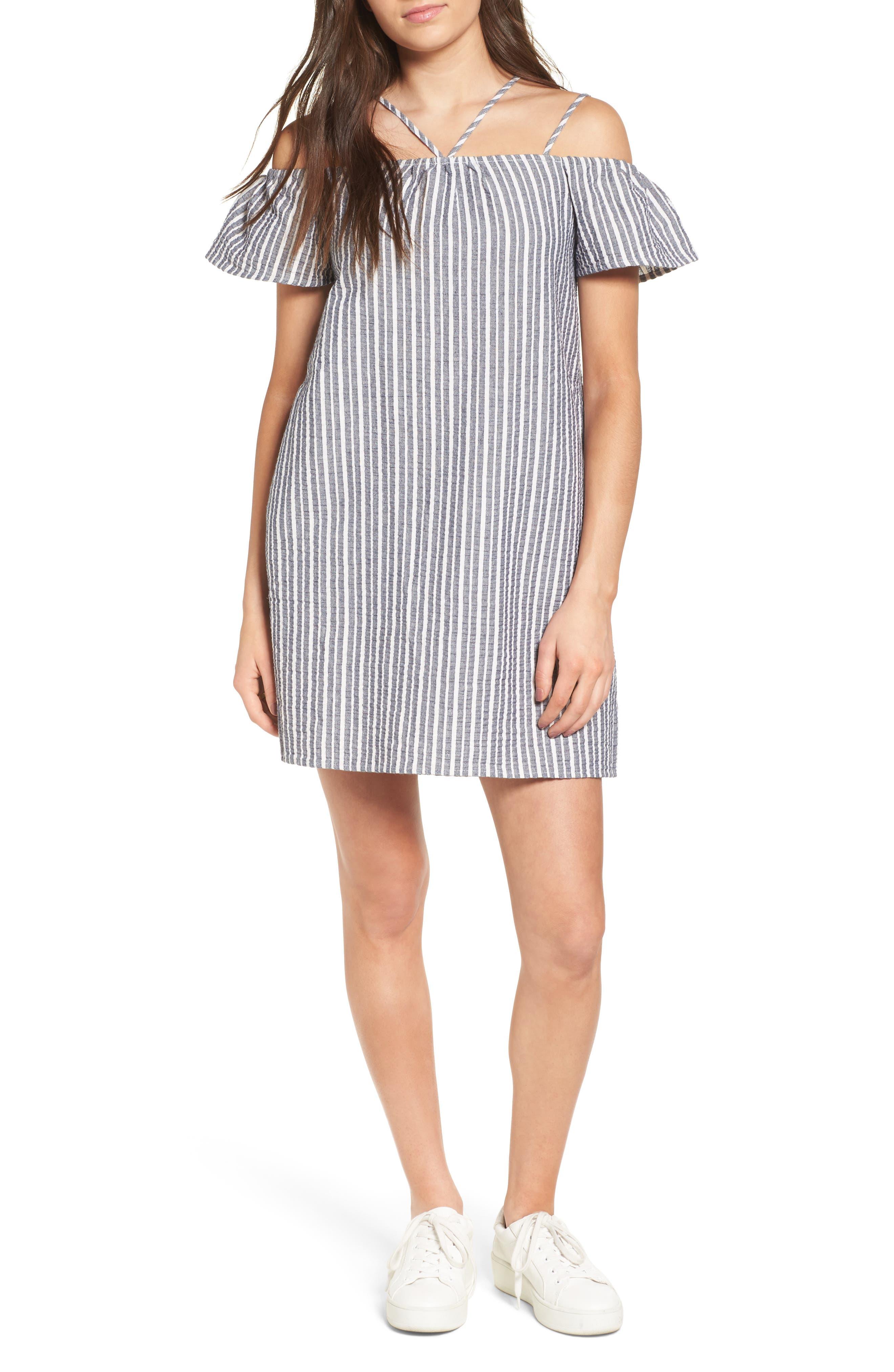 Main Image - Lush Stripe Off the Shoulder Dress
