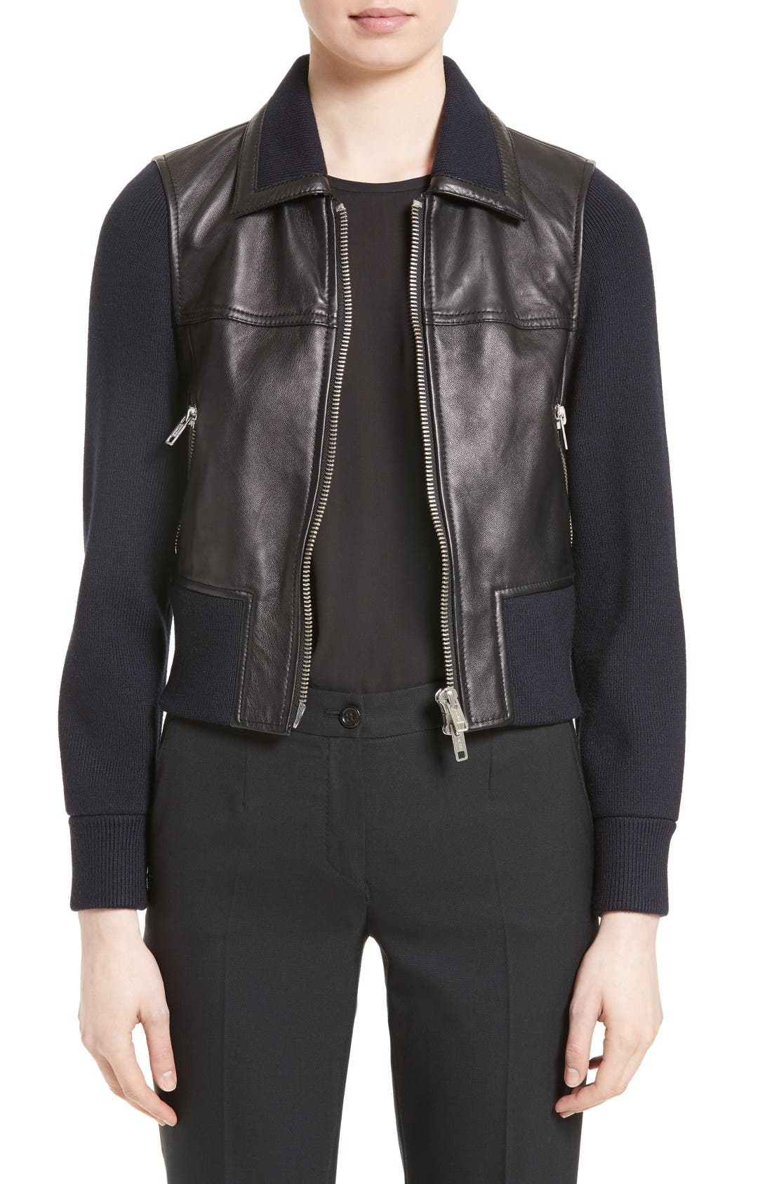 3.1 PHILLIP LIM Knit Combo Leather Jacket