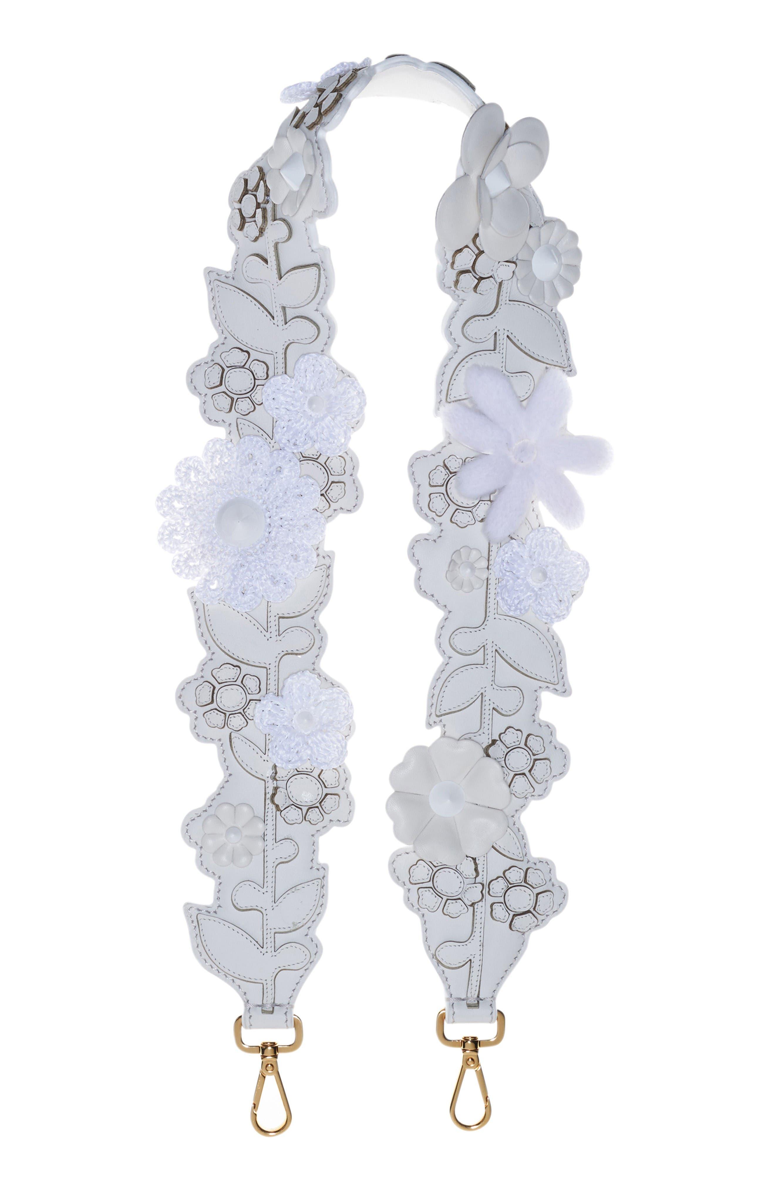 Fendi Floral Appliqué Leather Guitar Bag Strap