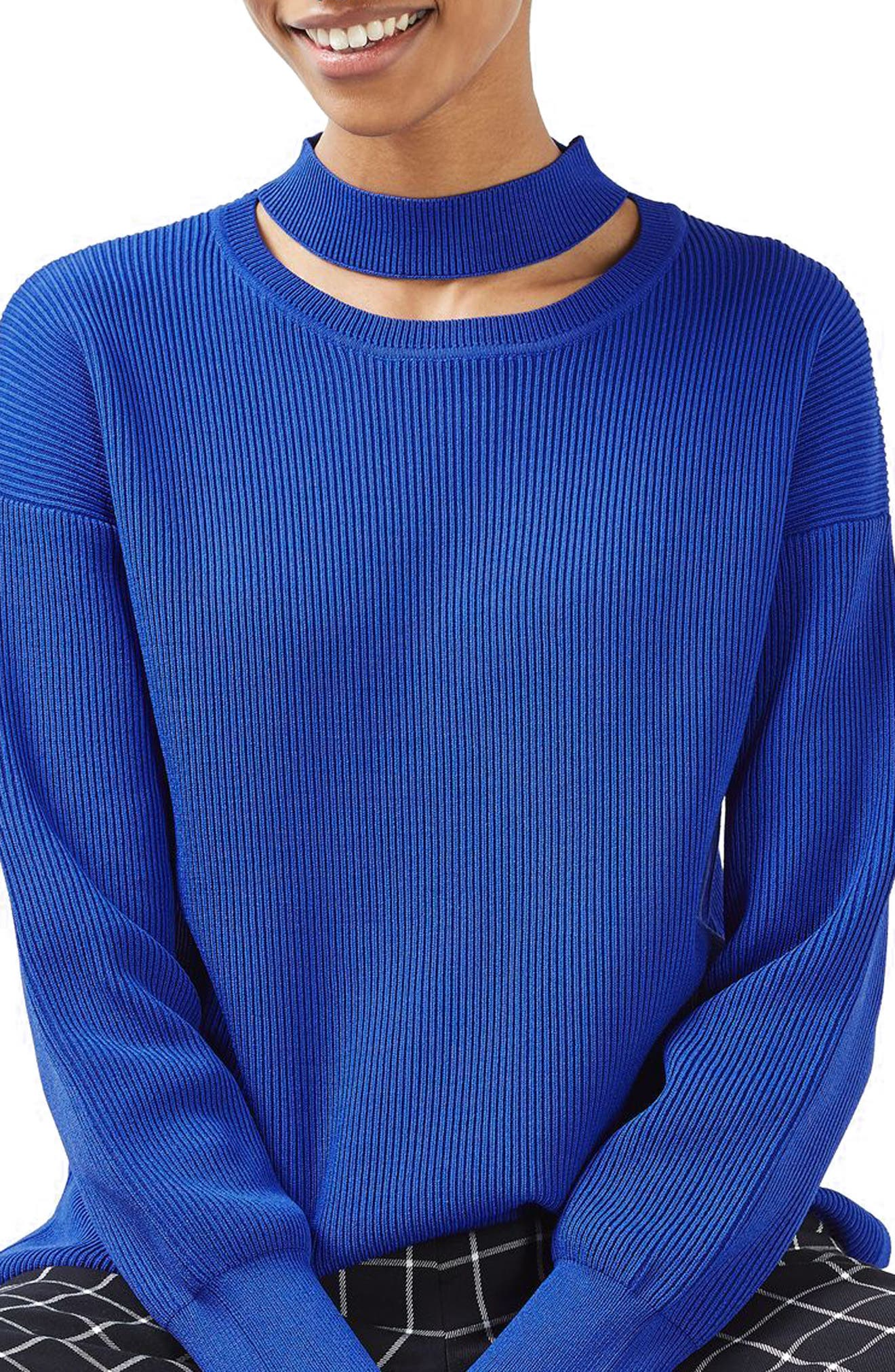 Main Image - Topshop Ribbed Choker Sweater