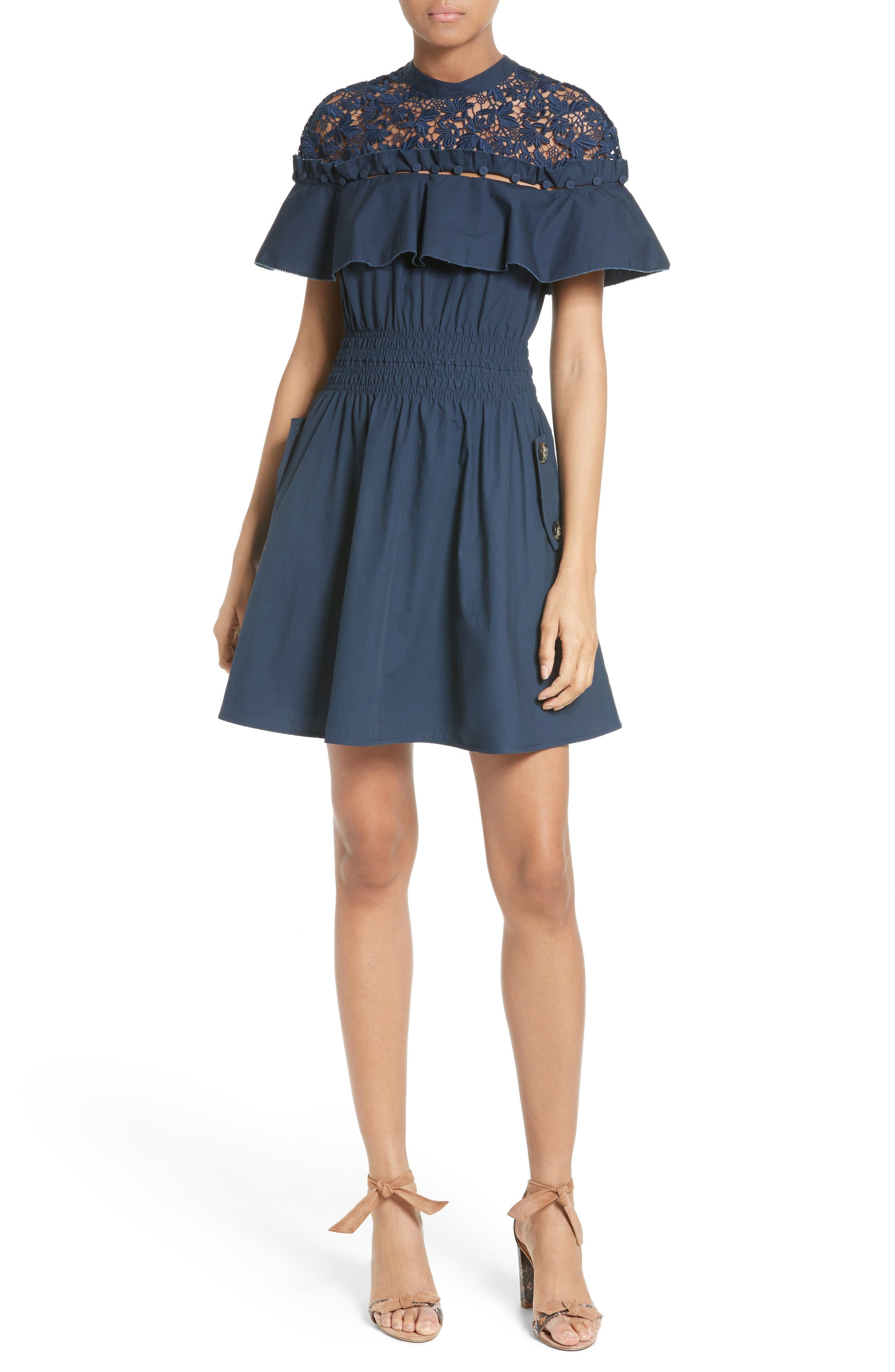 Alternate Image 1 Selected - Self-Portrait Hudson Ruffle Sleeve Fit & Flare Dress