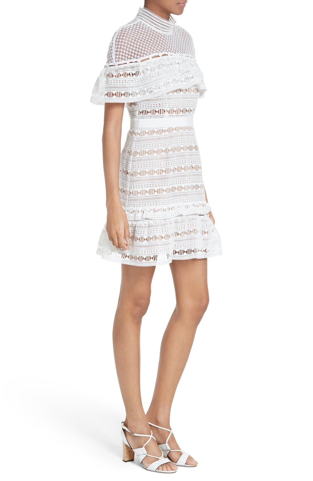 Alternate Image 3  - Self-Portrait Ruffle Sleeve Lace Dress