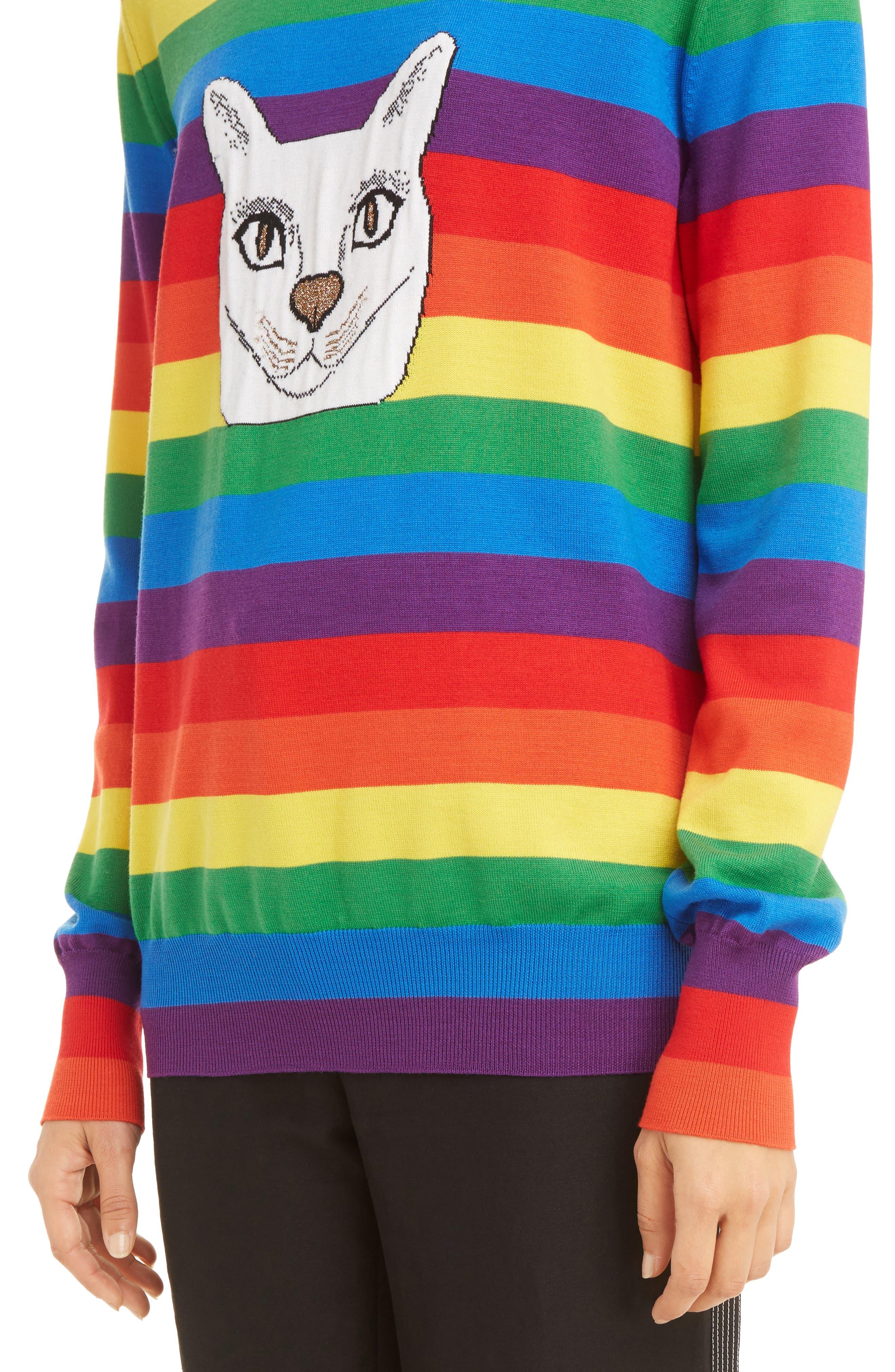 Alternate Image 6  - Loewe Cat Rainbow Stripe Wool Blend Sweater