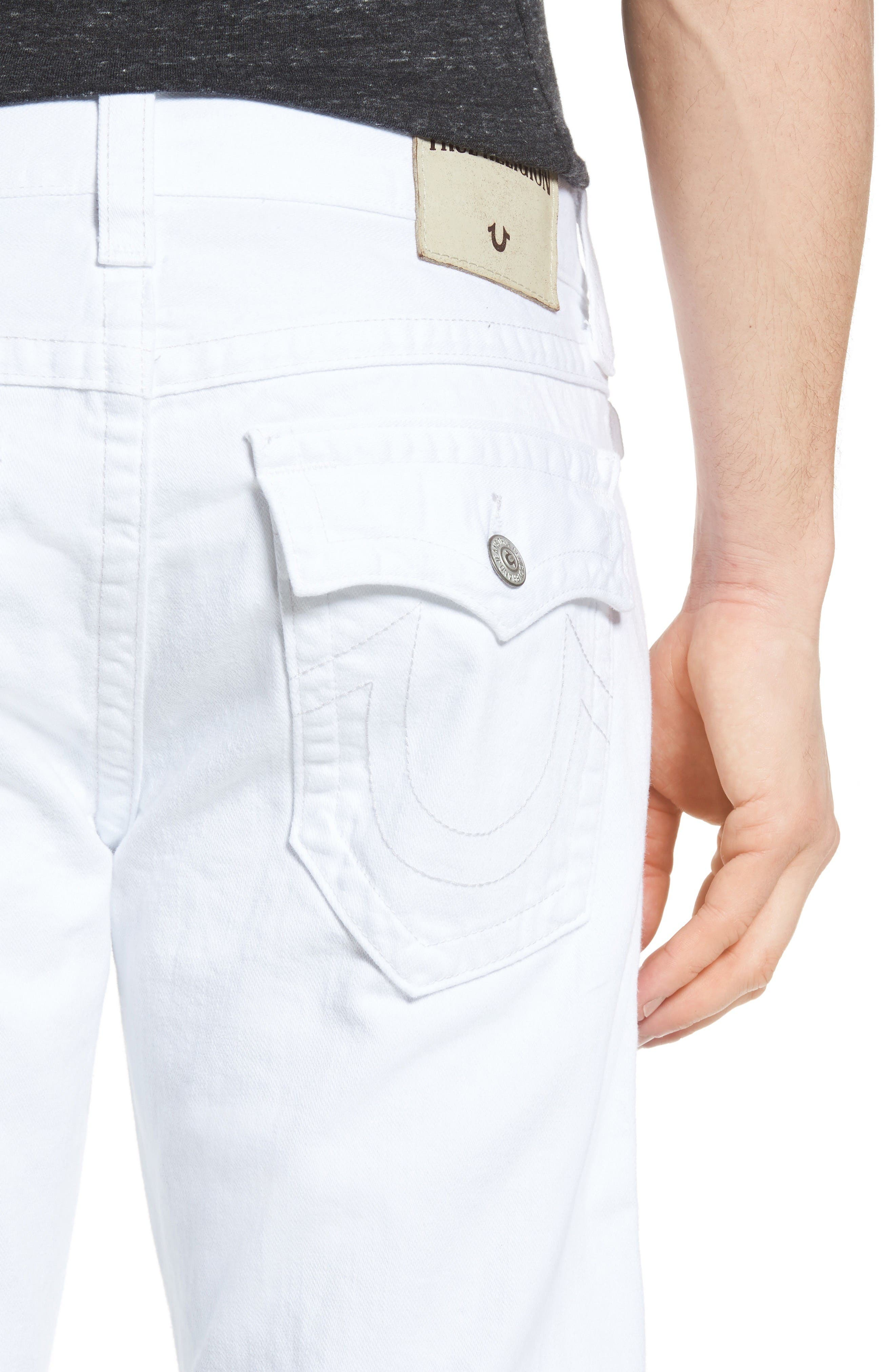 Alternate Image 4  - True Religion Brand Jeans Ricky Relaxed Fit Jeans (Optic White) (Regular & Big)