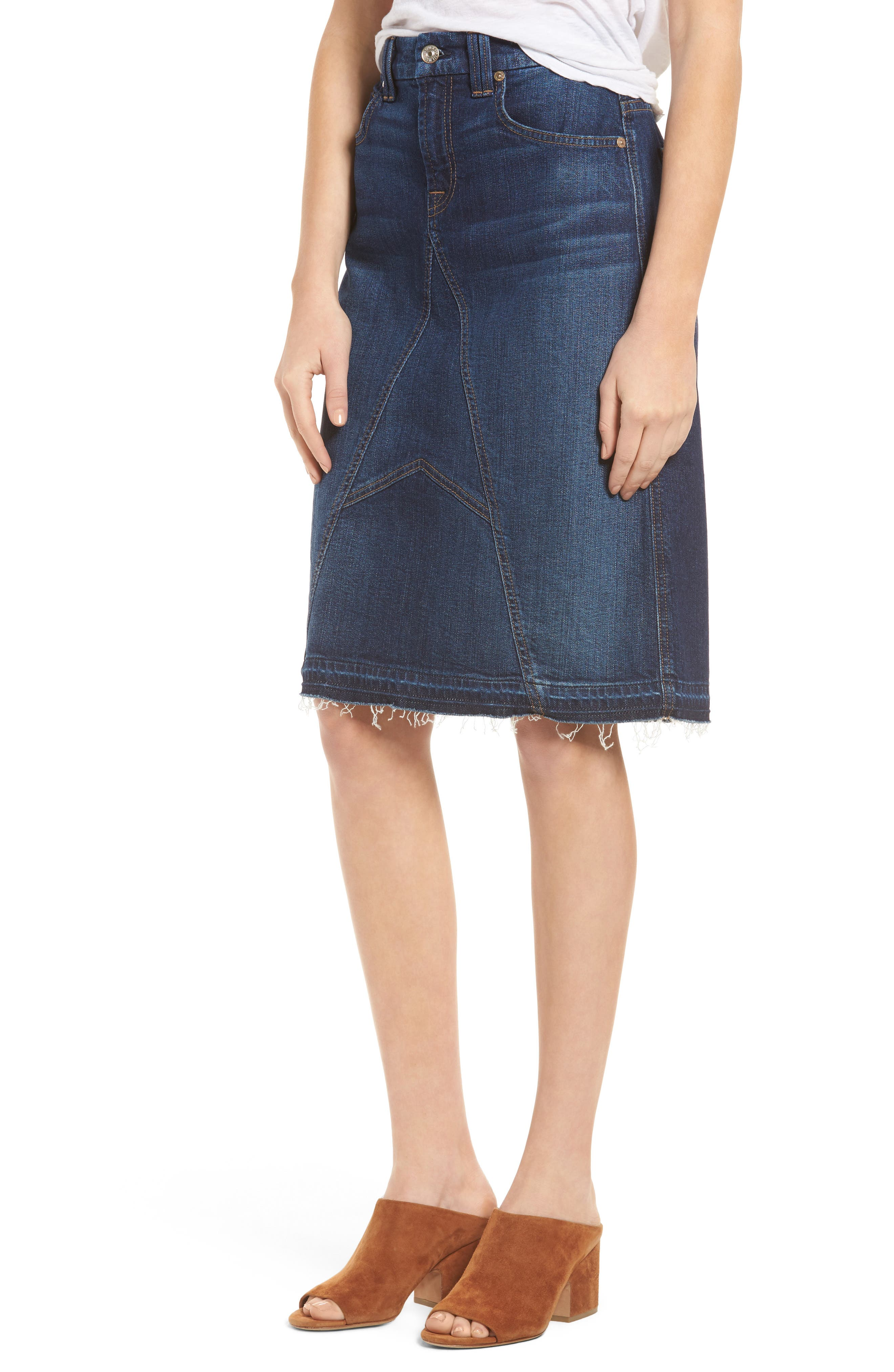 7 FOR ALL MANKIND® Release Hem Denim Skirt