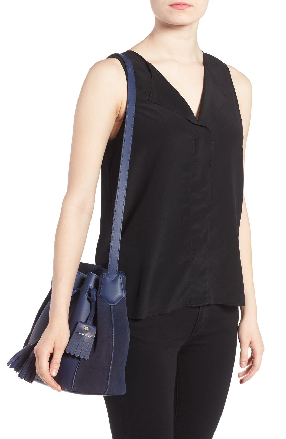 Alternate Image 2  - Longchamp Penelope Fantasie Leather Bucket Bag