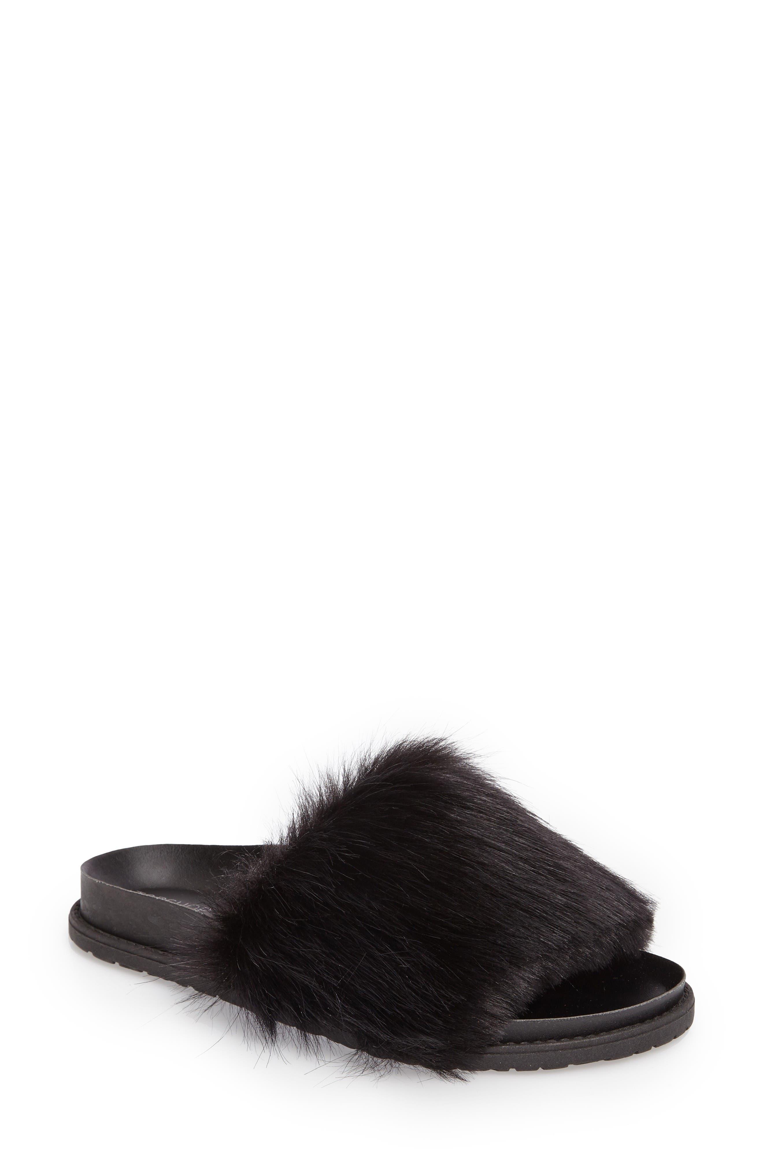 Main Image - Topshop Faux Fur Slide Sandal (Women)