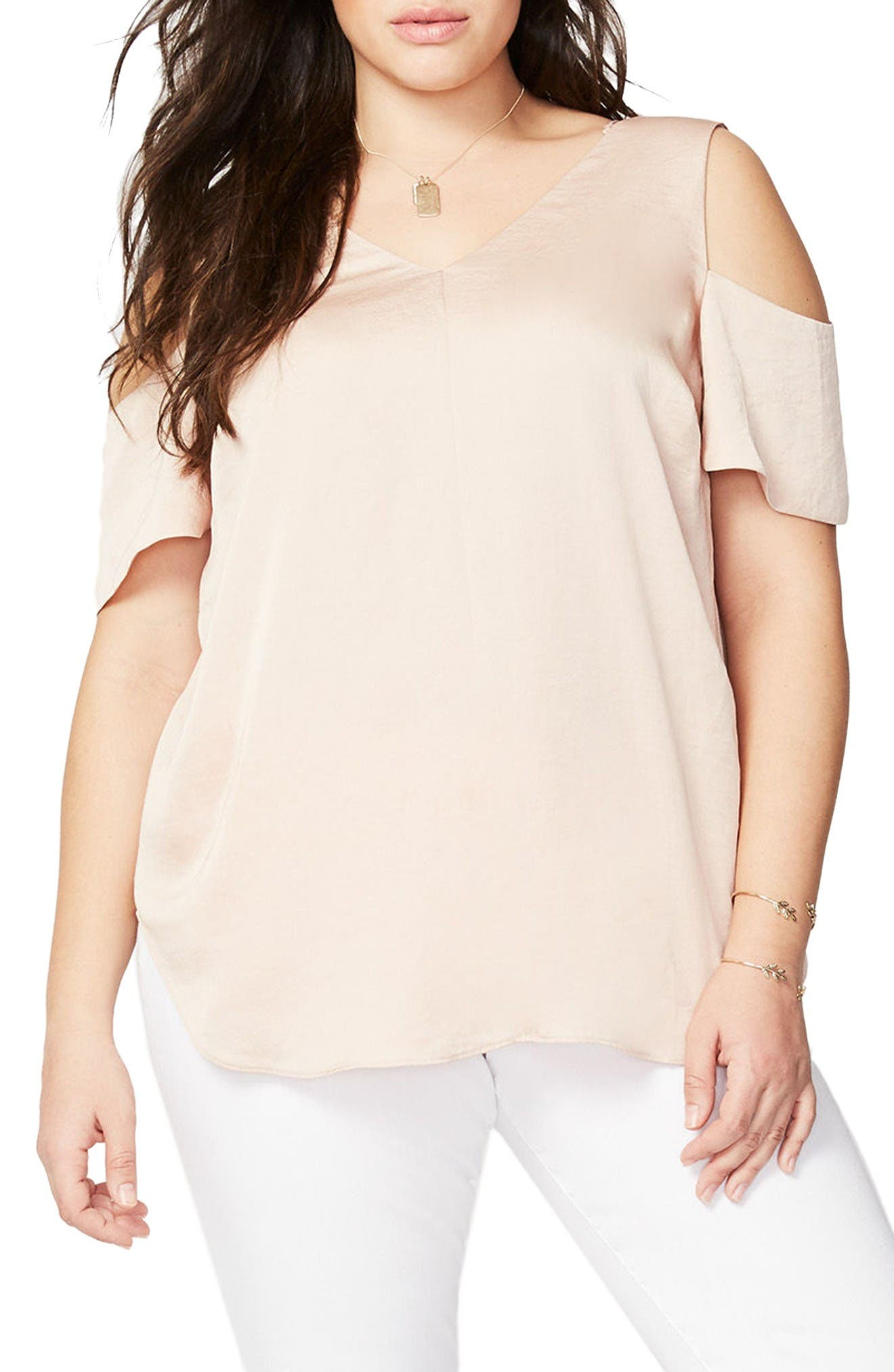RACHEL Rachel Roy Washed Satin Cold Shoulder Blouse (Plus Size)