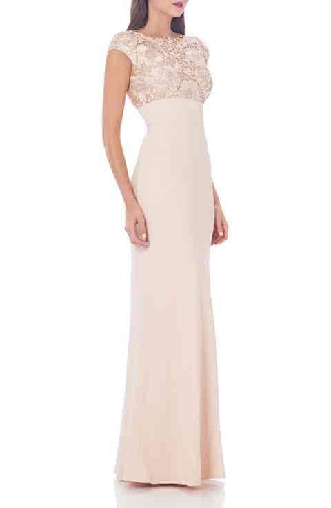 JS Collections Lace Column Gown