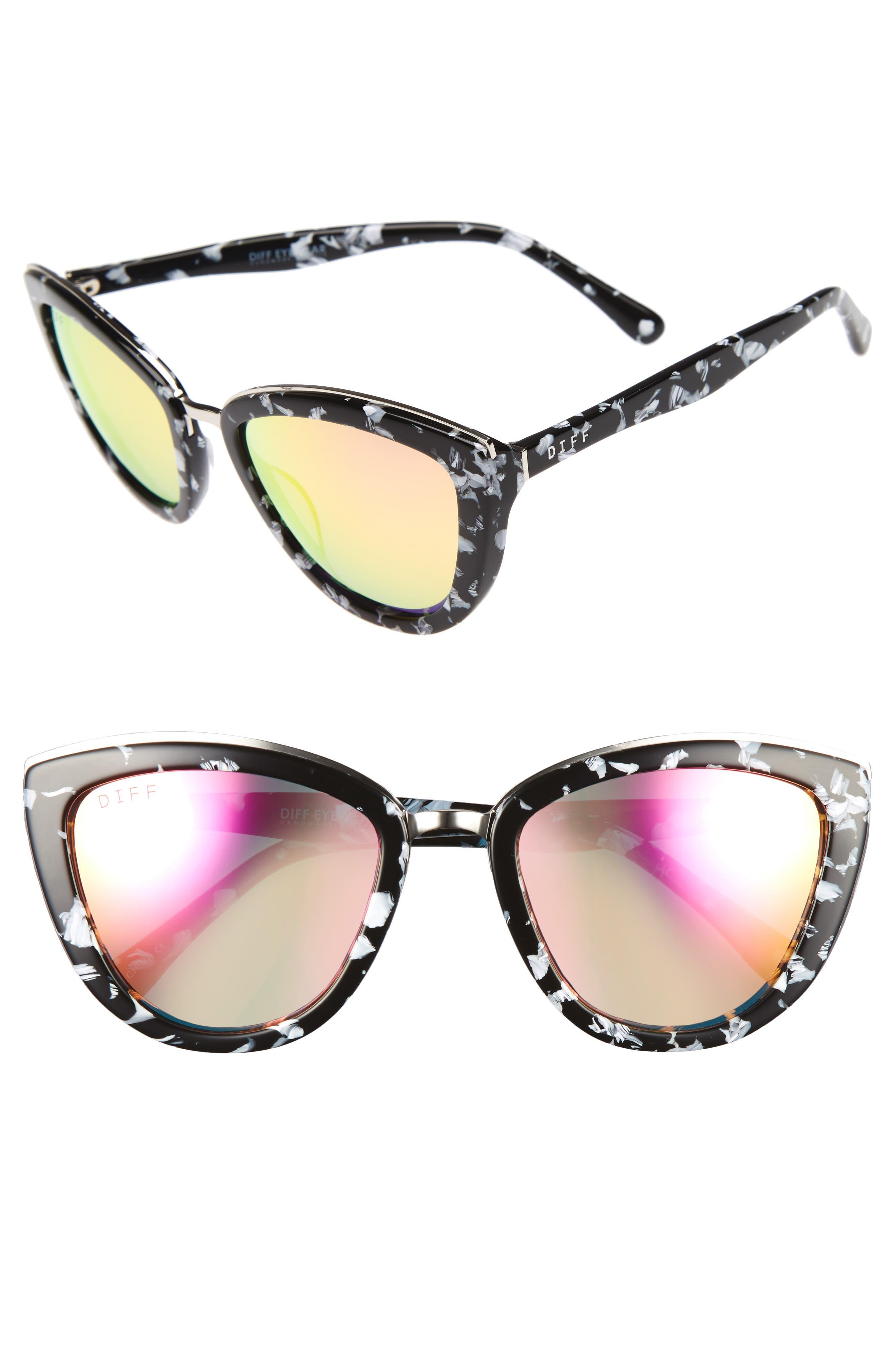 Alternate Image 1 Selected - DIFF Rose 56mm Cat Eye Sunglasses