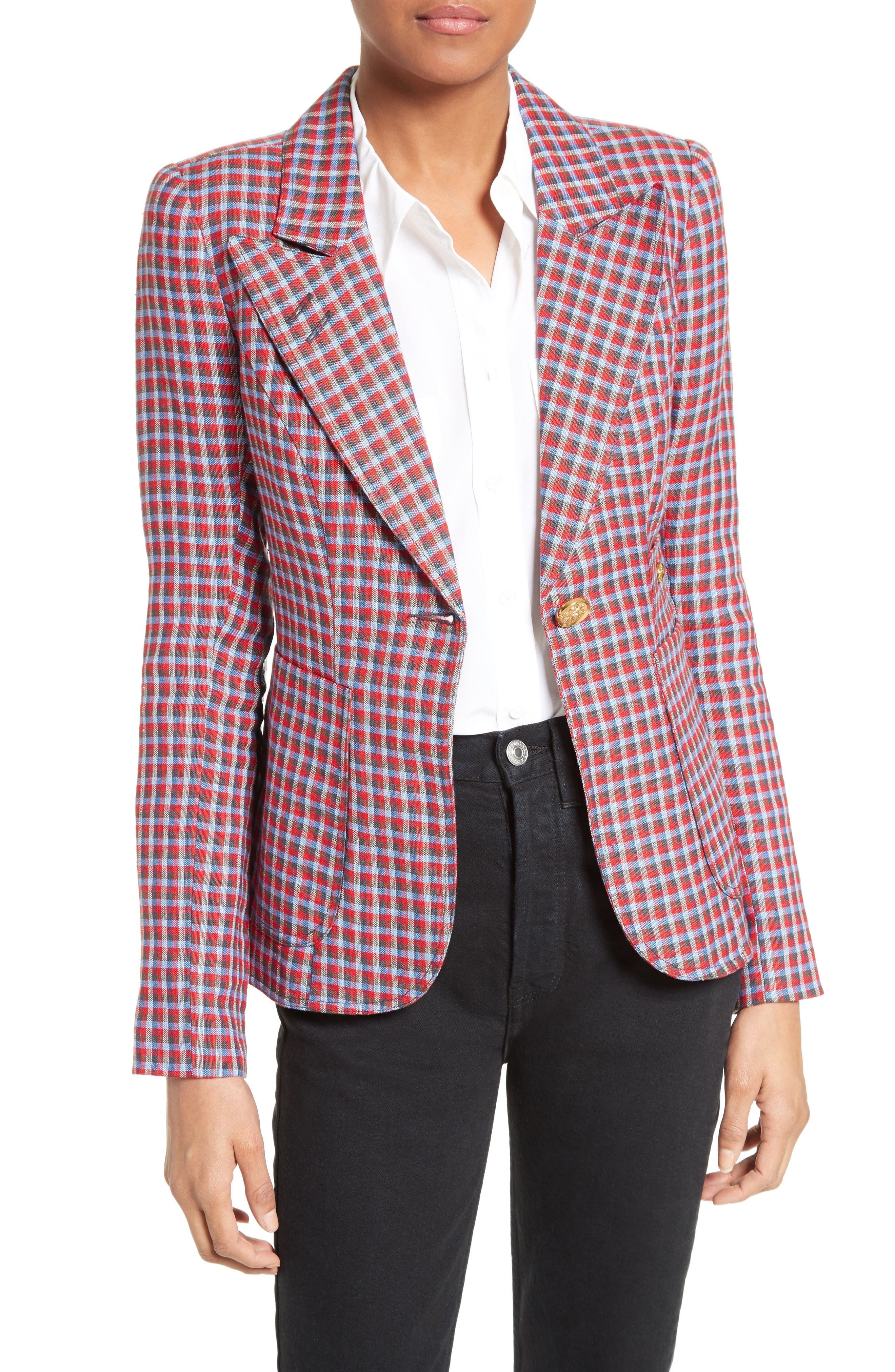 SMYTHE Duchess Plaid Linen Blazer