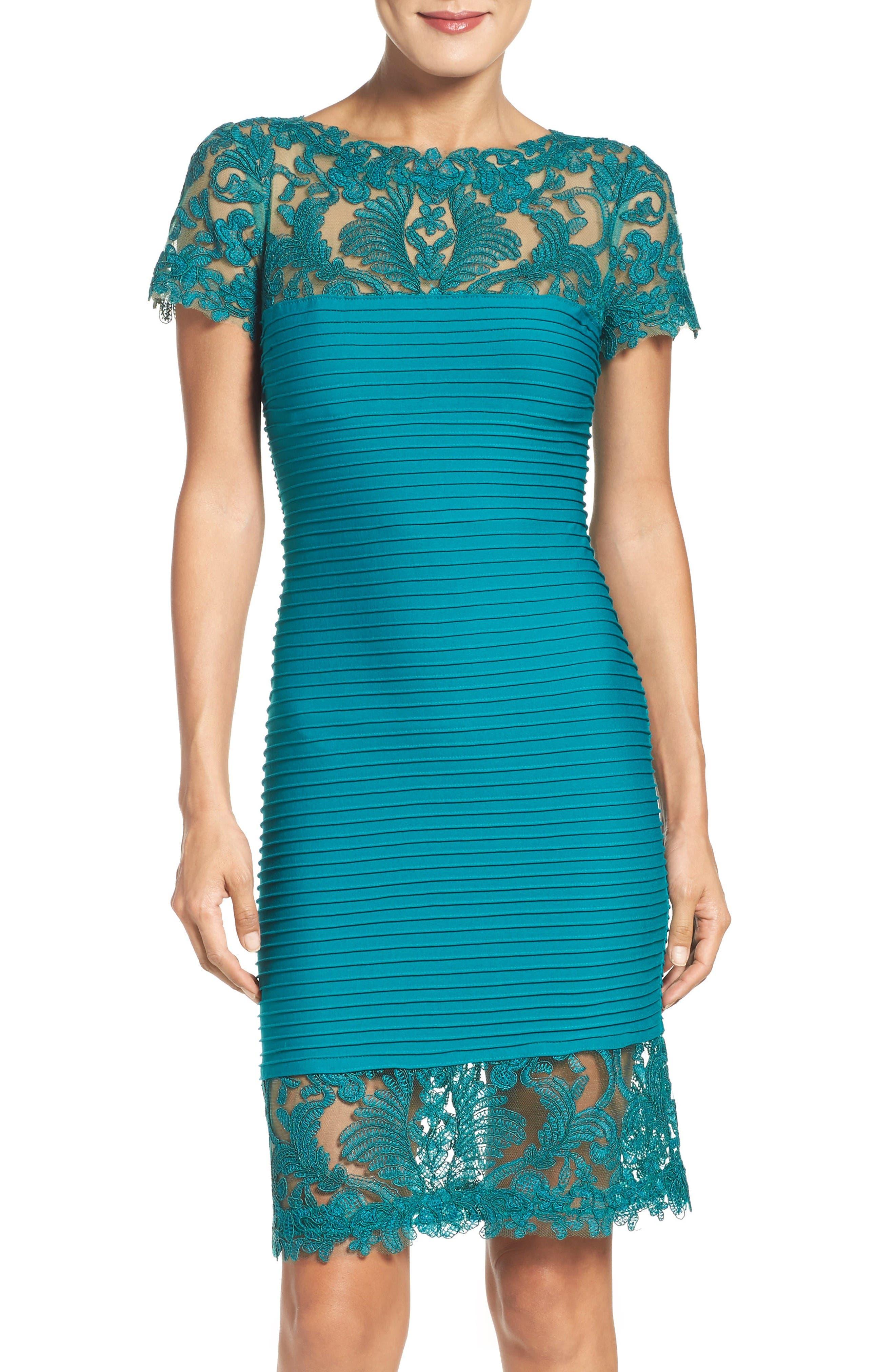 Tadashi Shoji Mesh & Jersey Dress (Regular & Petite)
