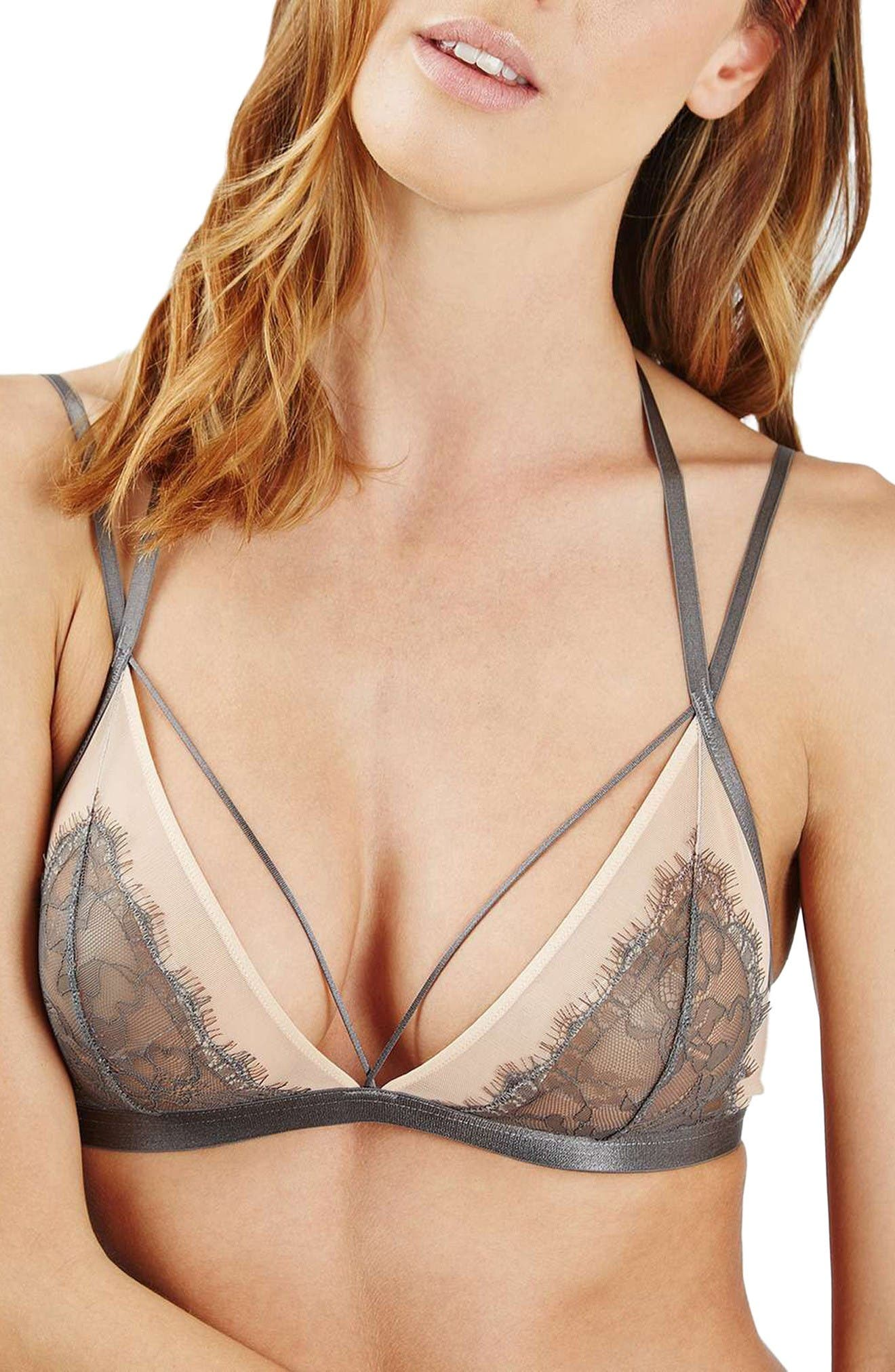 Main Image - Topshop Strappy Lace Bralette