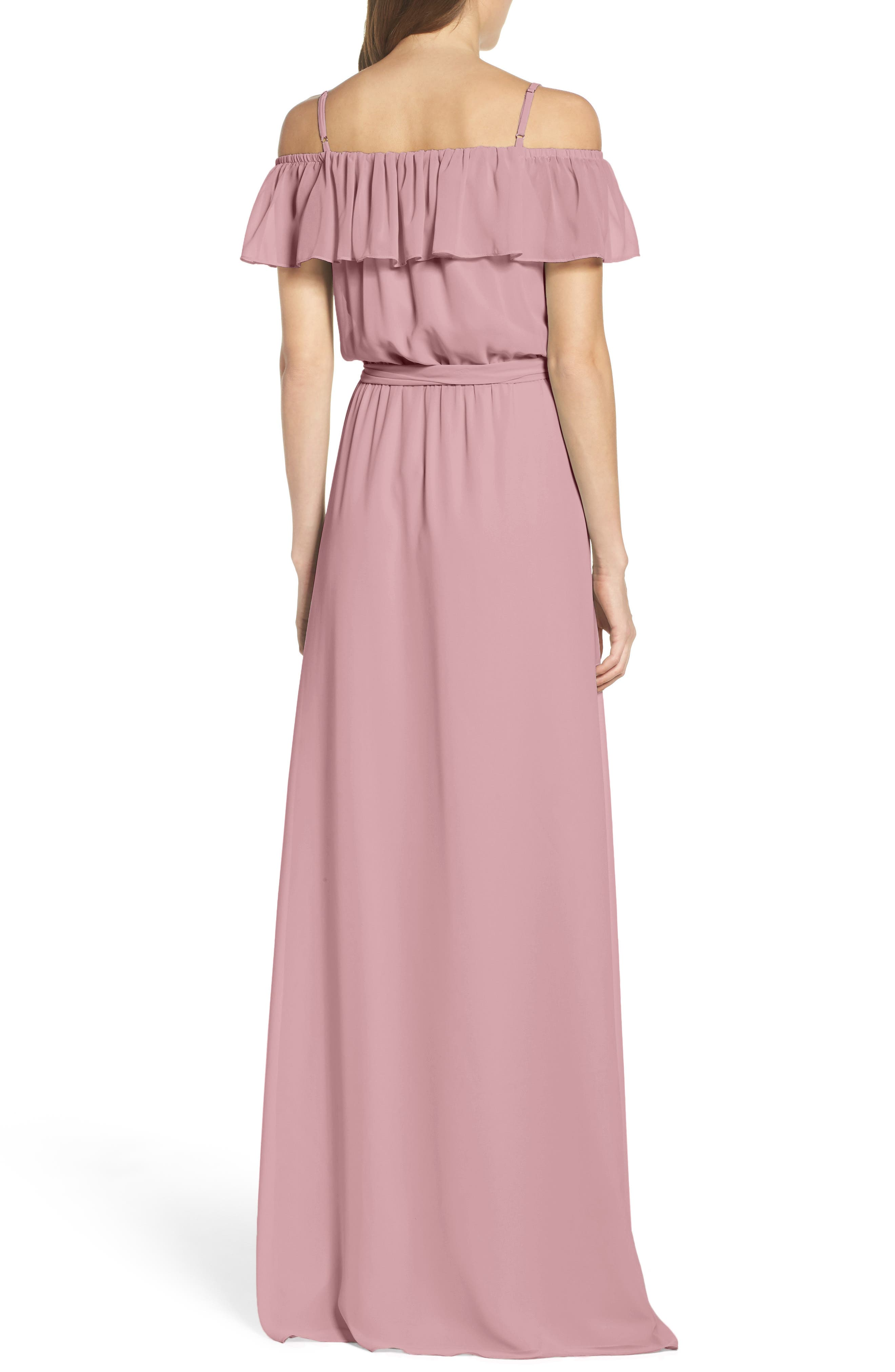 Alternate Image 2  - Ceremony by Joanna August Ruffle Off the Shoulder Chiffon Gown