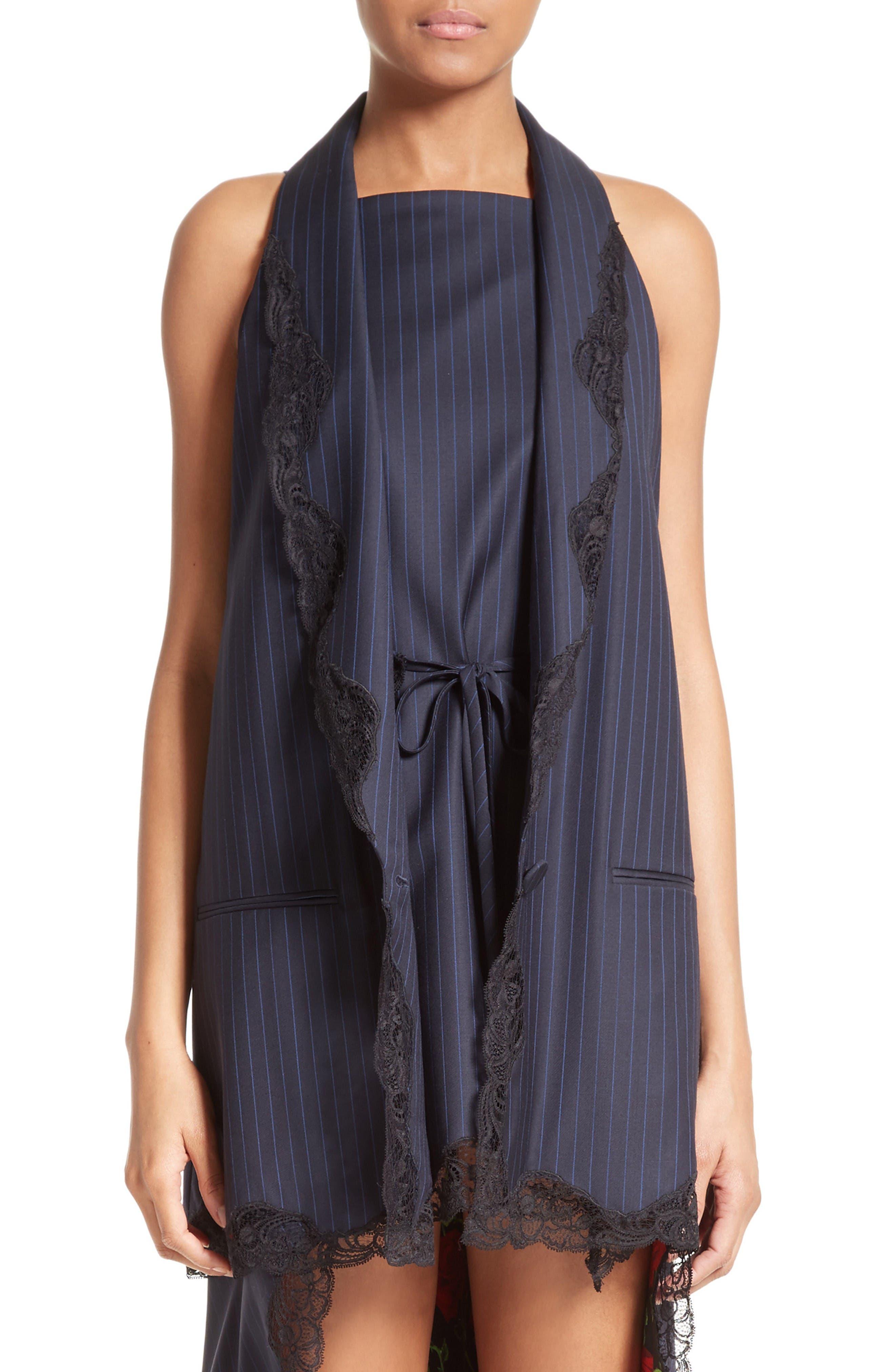 Alternate Image 1 Selected - Alexander Wang Lace Trim Pinstripe Vest