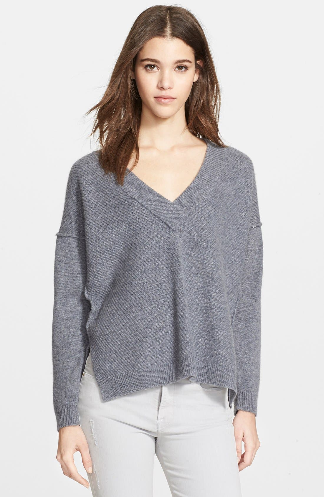 Alternate Image 1 Selected - Frame Denim 'Le Boyfriend' V-Neck Cashmere Sweater