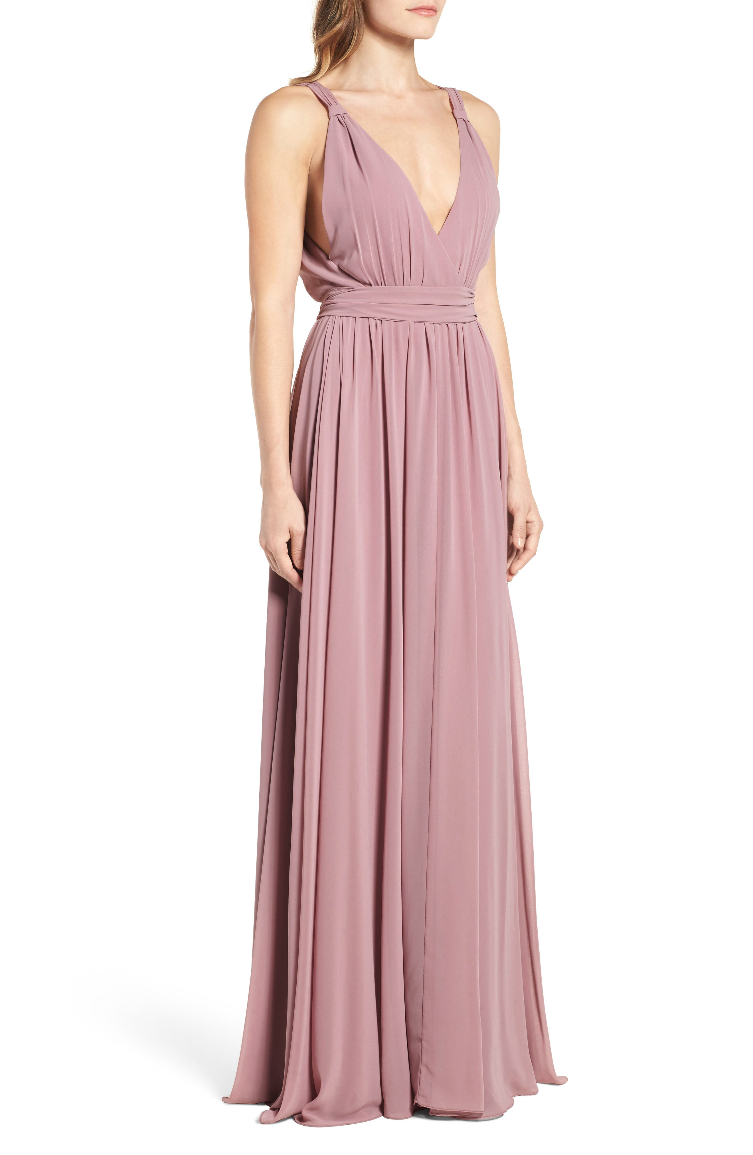 Alternate Image 4  - Ceremony by Joanna August Knot Strap Chiffon Wrap Gown