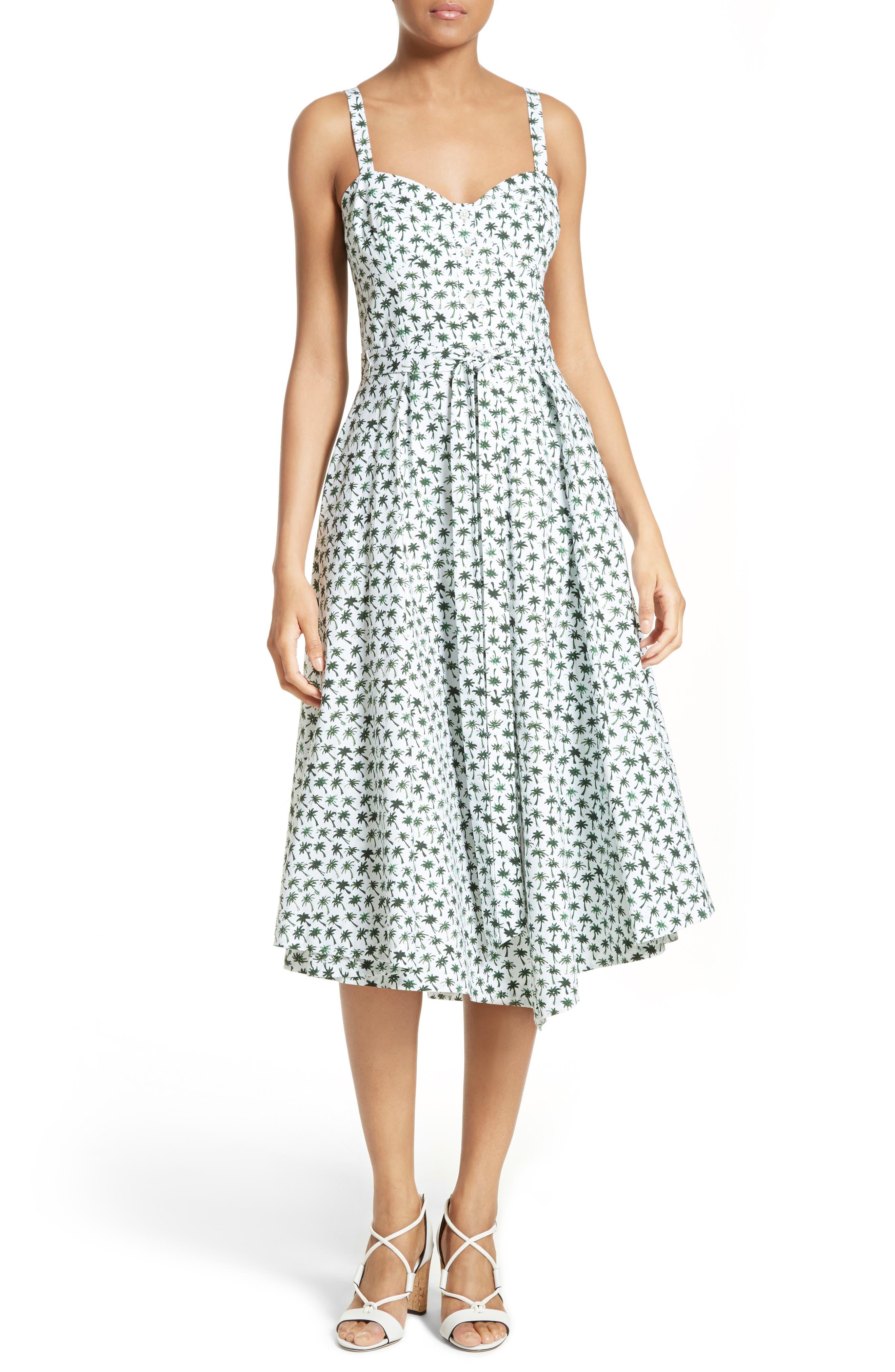 Main Image - Milly Bambino Palm Print Midi Dress