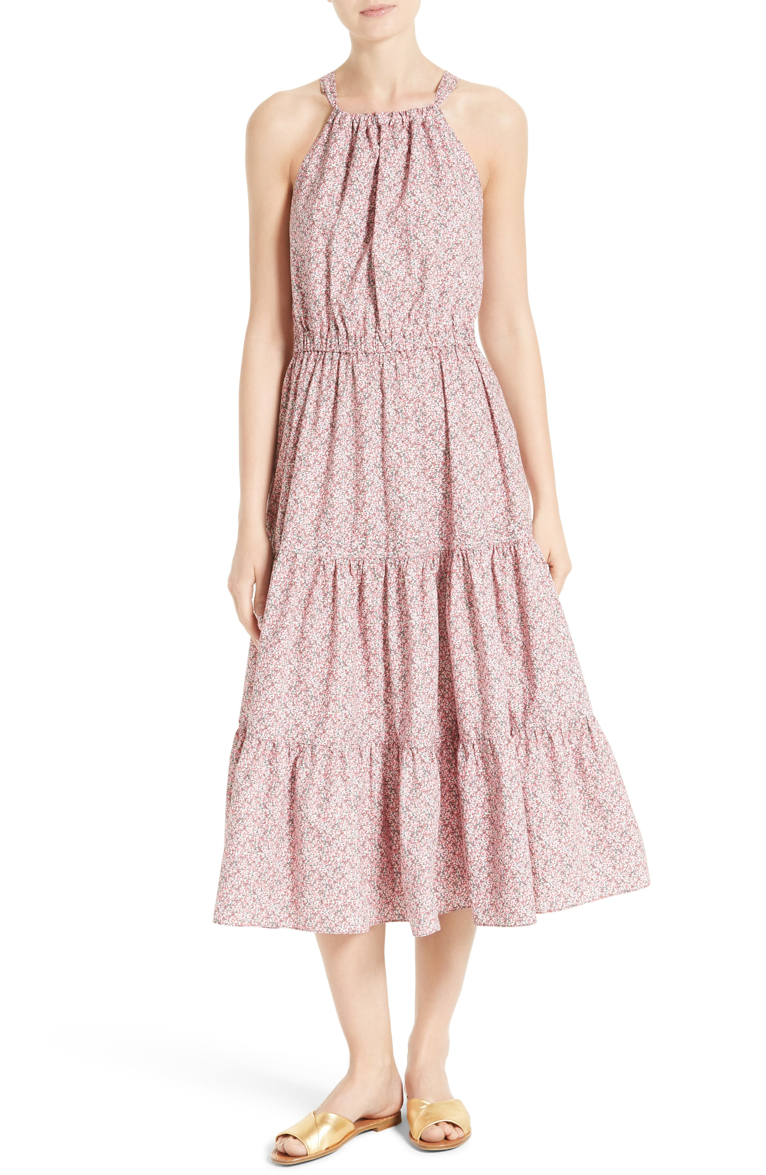Alternate Image 1 Selected - La Vie Rebecca Taylor Meadow Floral Tie Back Tiered Sundress