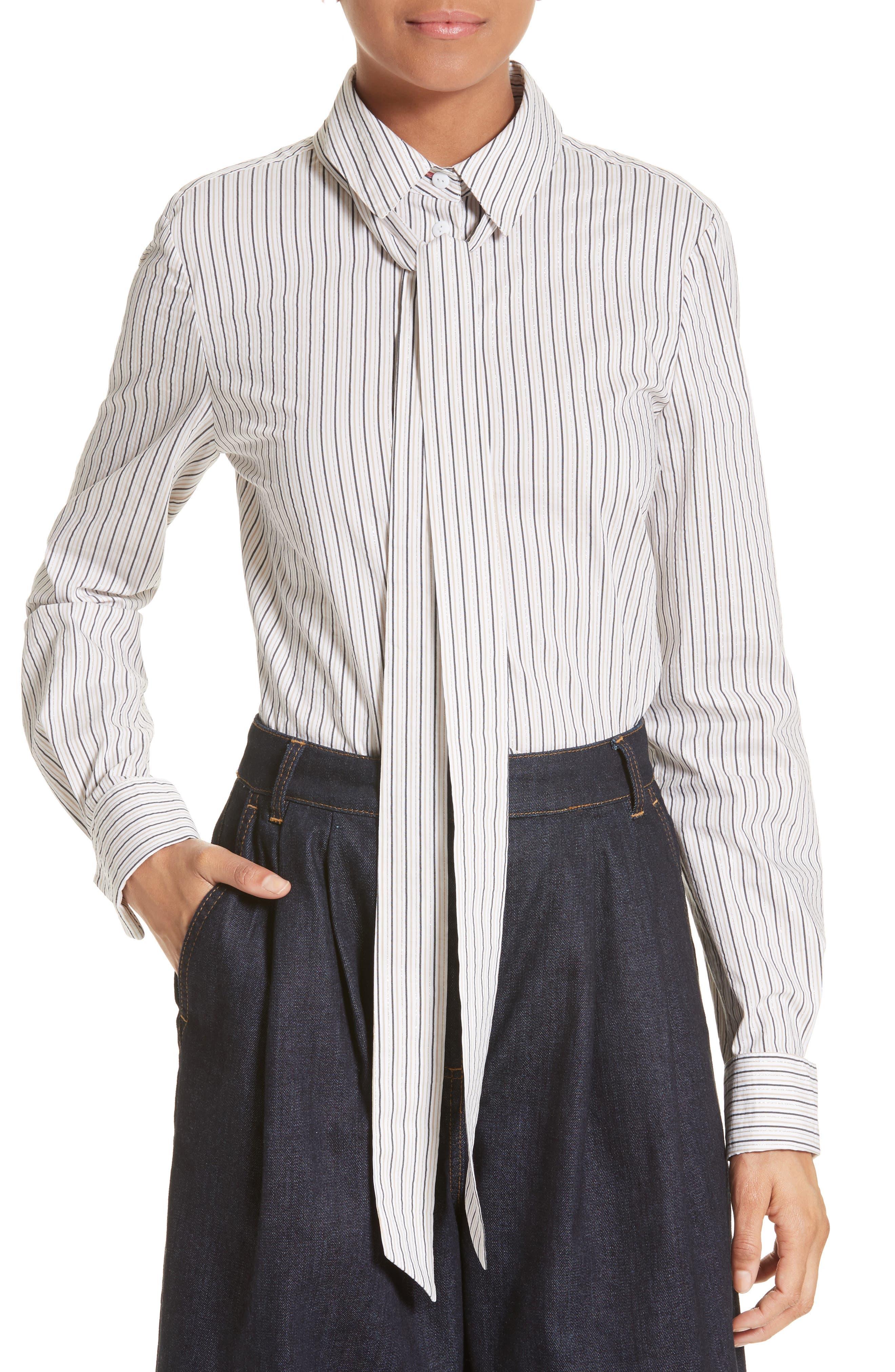 Tibi Stripe Slim Tie Neck Shirt