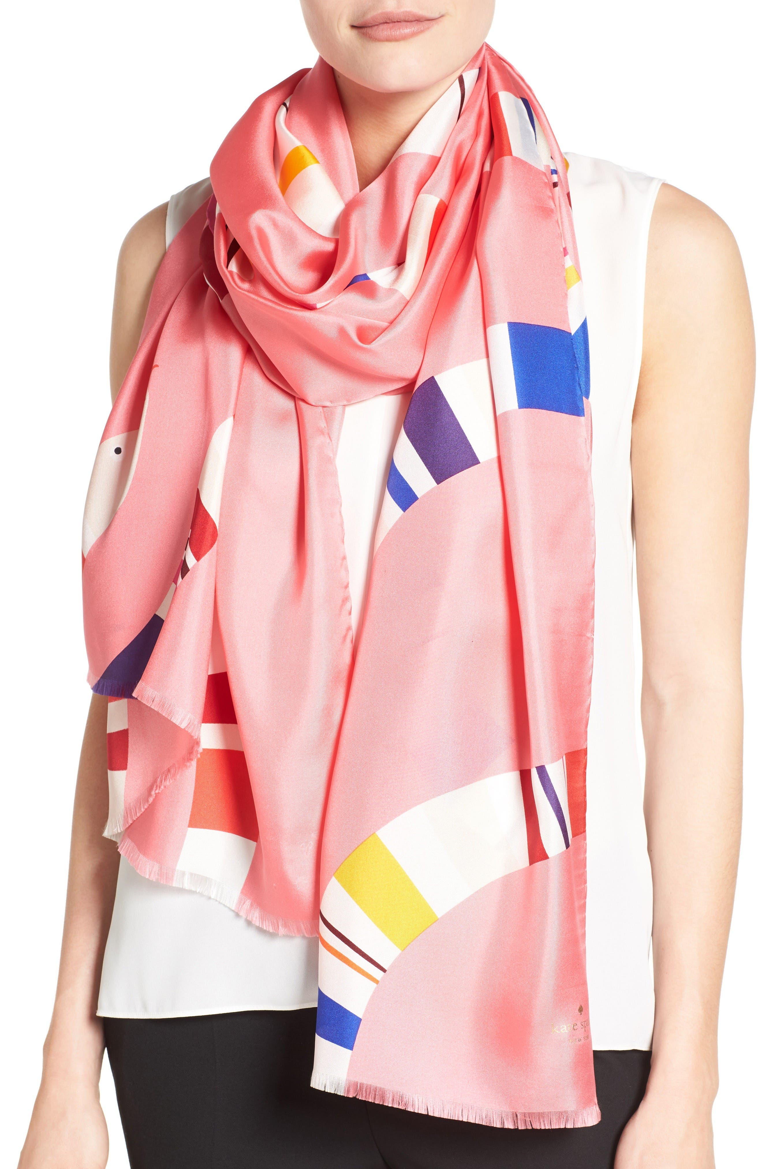 KATE SPADE NEW YORK snake print silk scarf