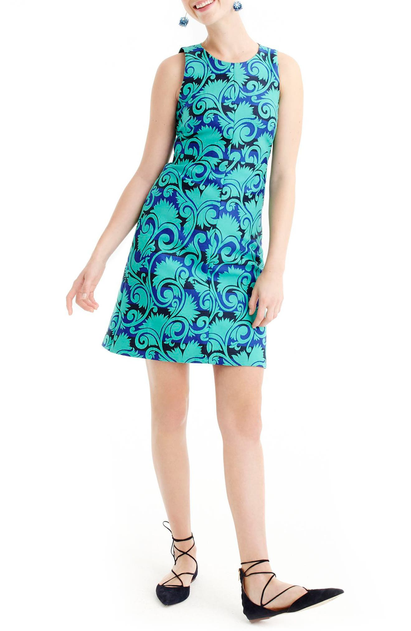 Main Image - J.Crew Vineyard Jacquard A-Line Dress (Regular & Petite)