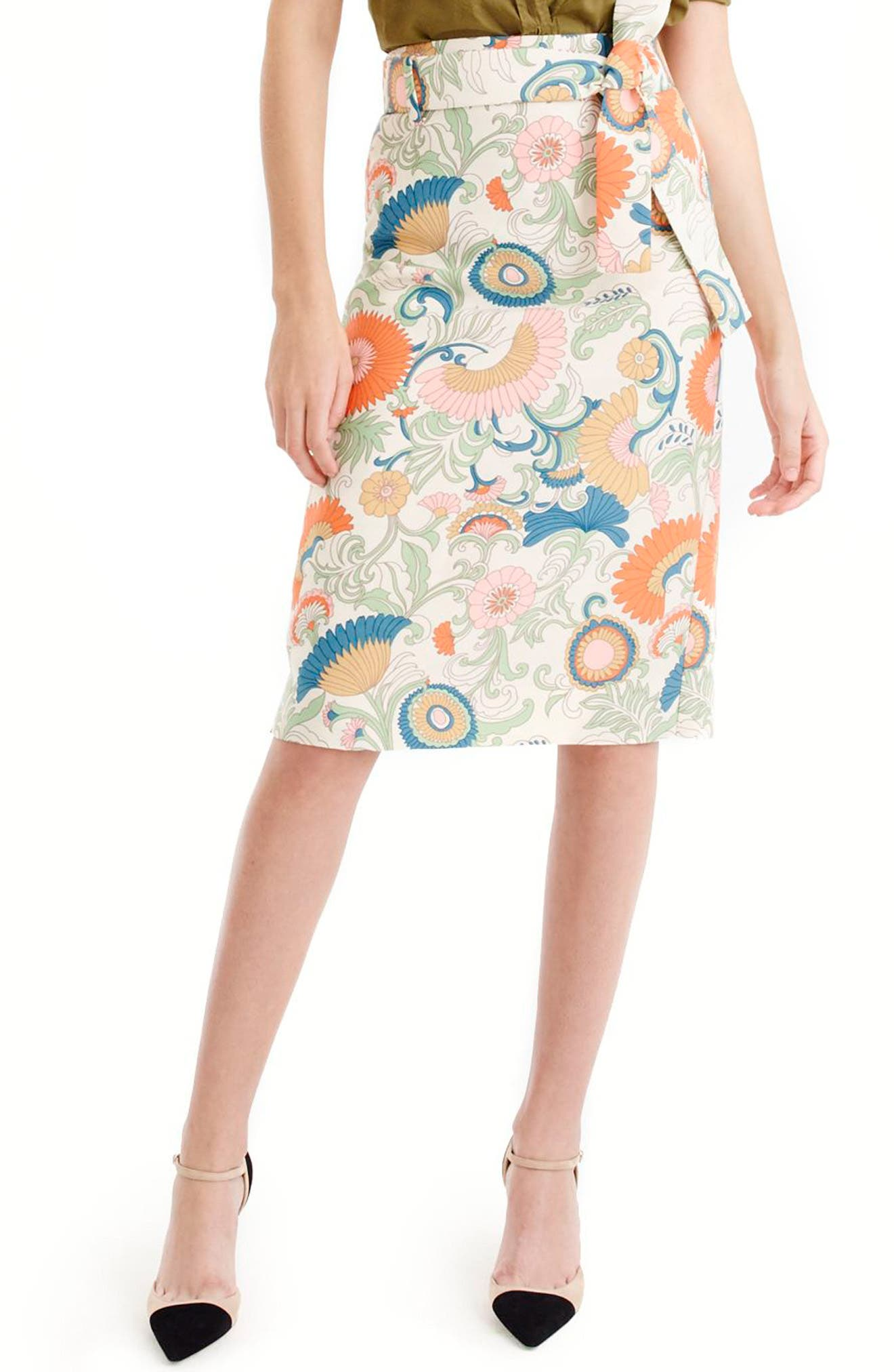 Main Image - J.Crew Tie Waist Ornate Floral Skirt (Regular & Petite)