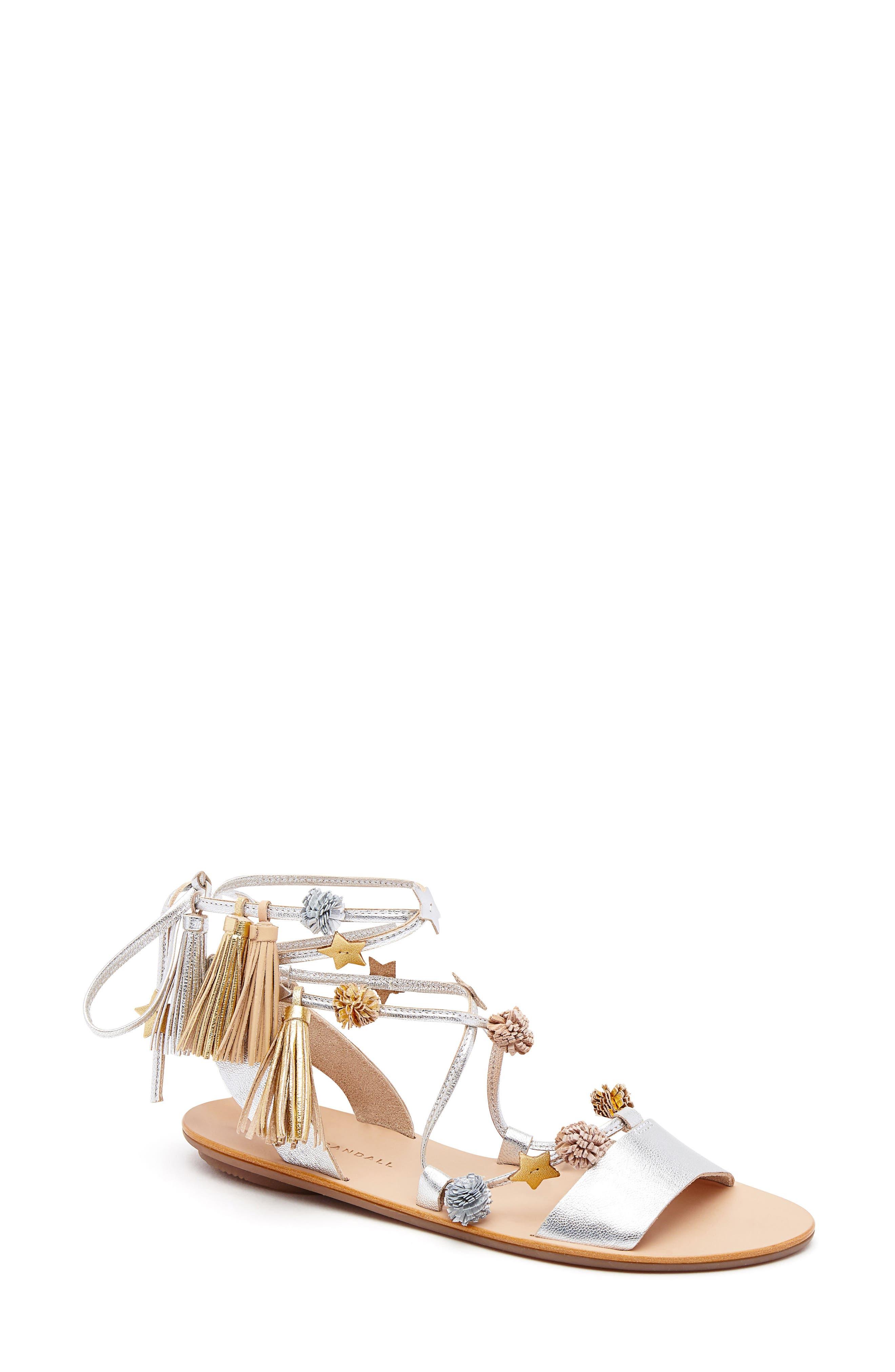 Loeffler Randall Suze Embellished Wraparound Sandal (Women)
