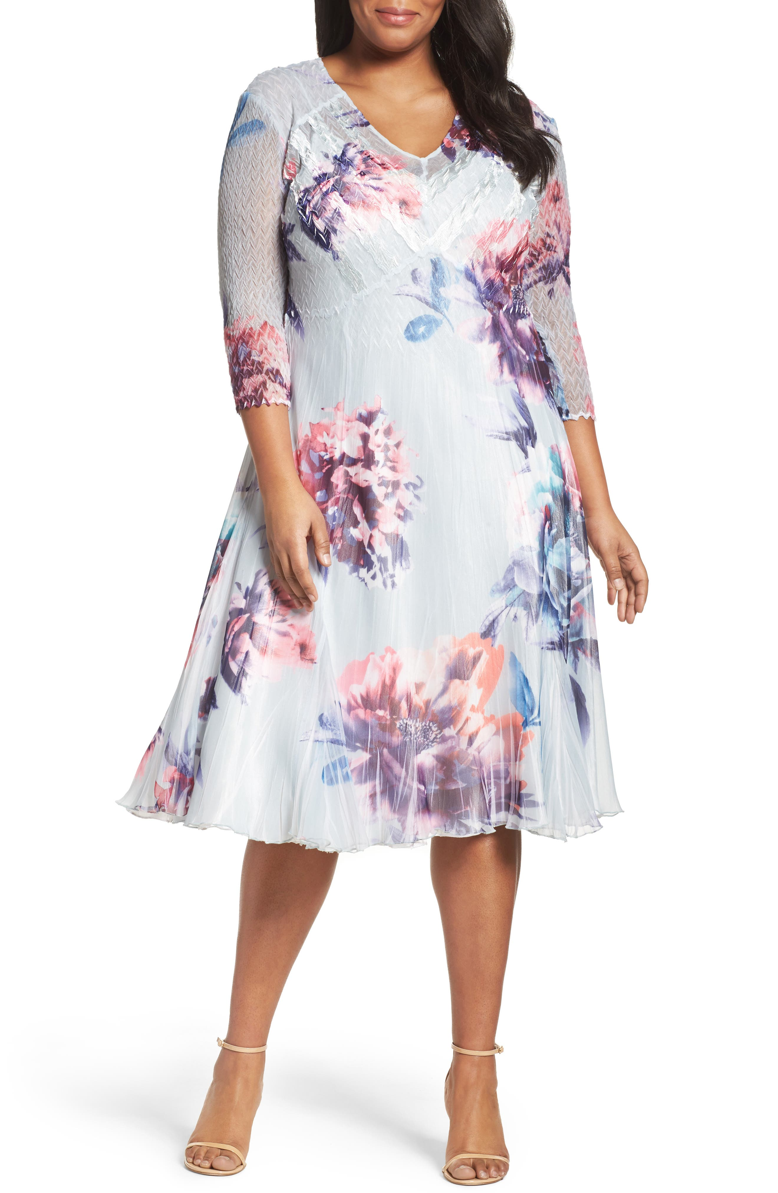 Komarov Floral Chiffon & Charmeuse A-Line Dress (Plus Size)