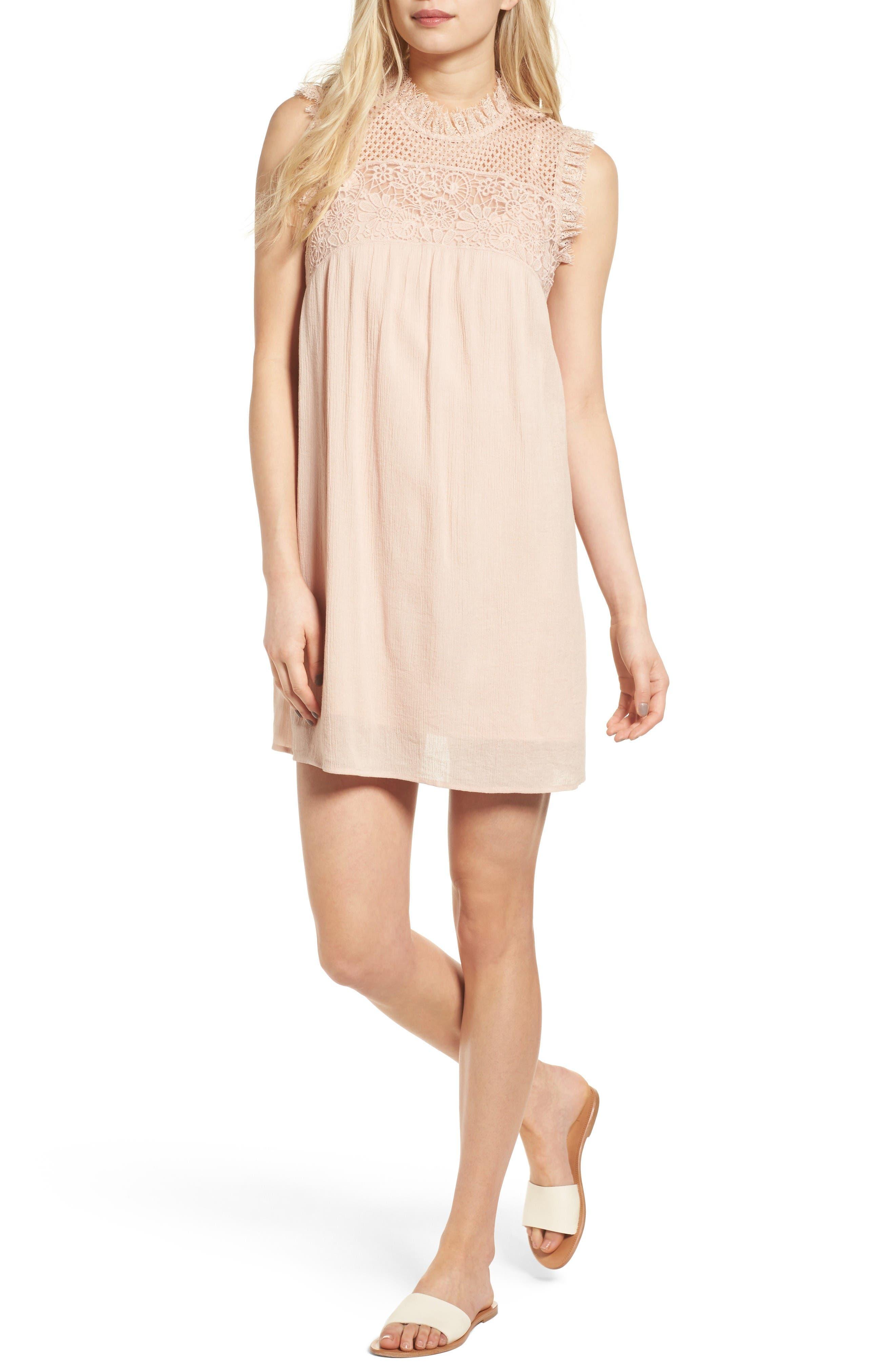 Alternate Image 1 Selected - Hinge Lace Yoke Babydoll Dress