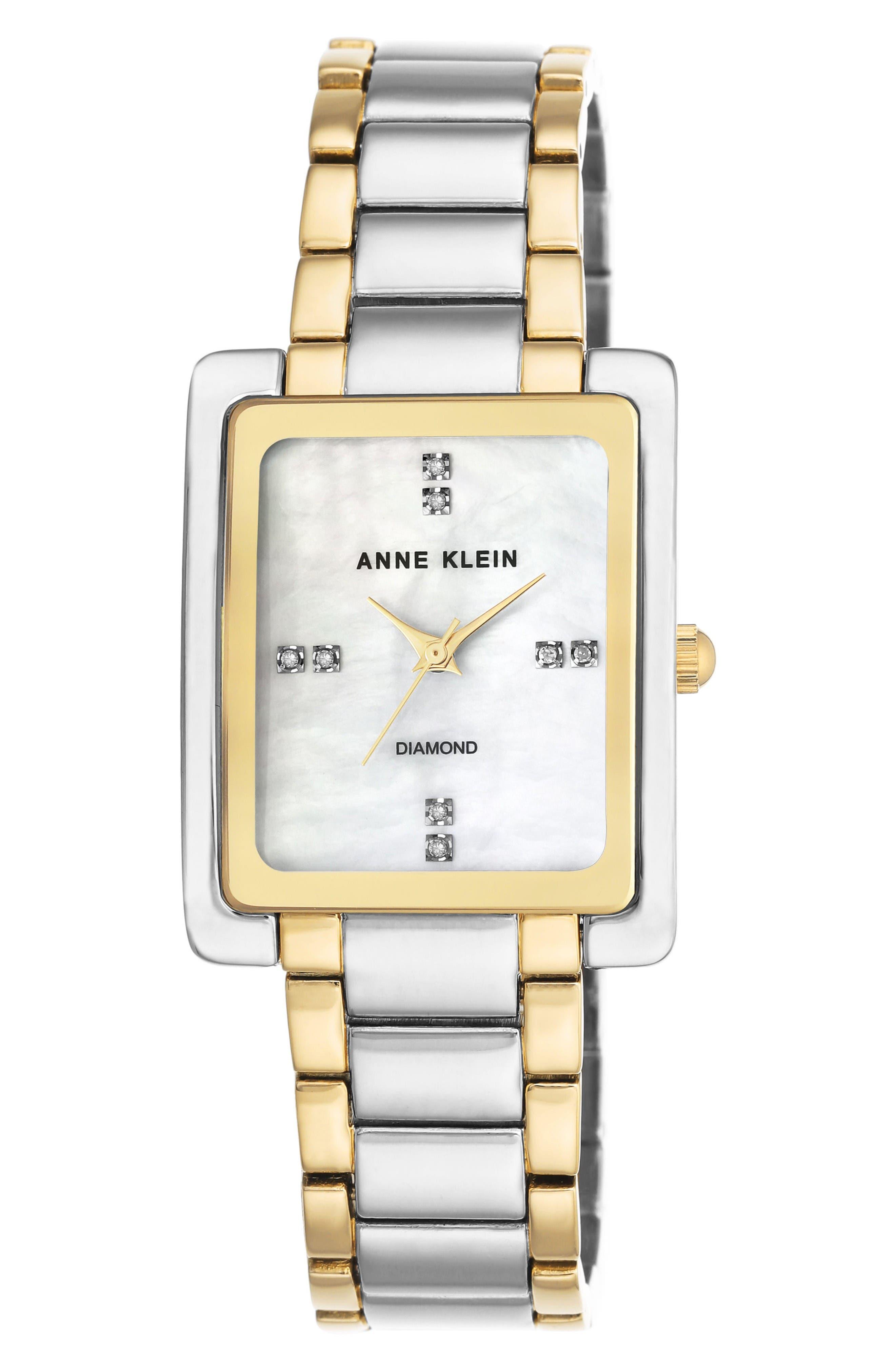 Anne Klein Diamond Bracelet Watch, 28mm x 35mm