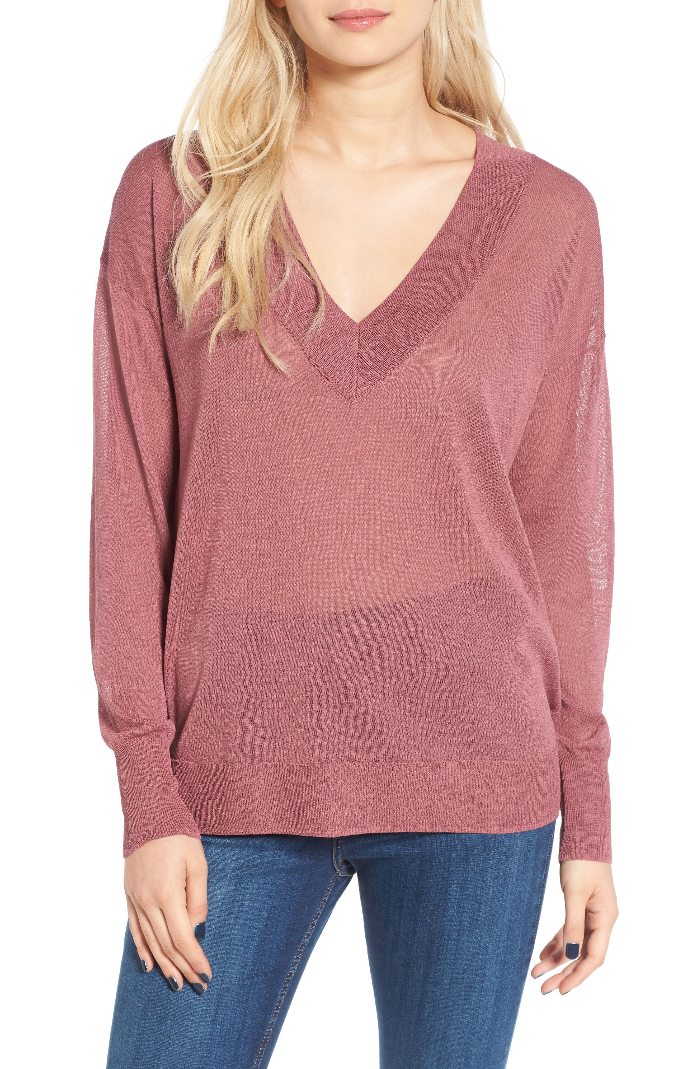 Alternate Image 1 Selected - Leith Sheer V-Neck Sweater