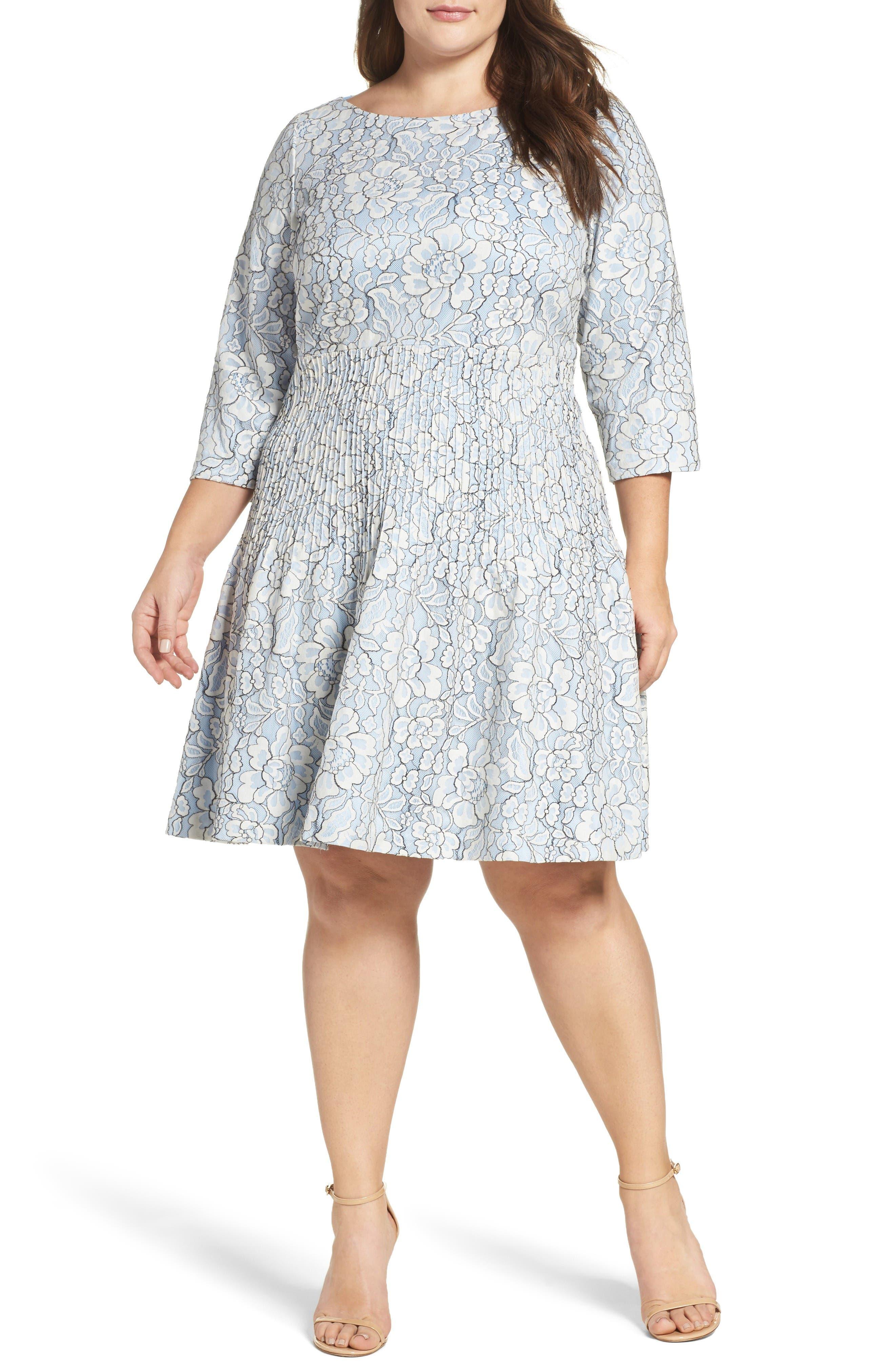 Eliza J Pintuck Lace Fit & Flare Dress (Plus Size)