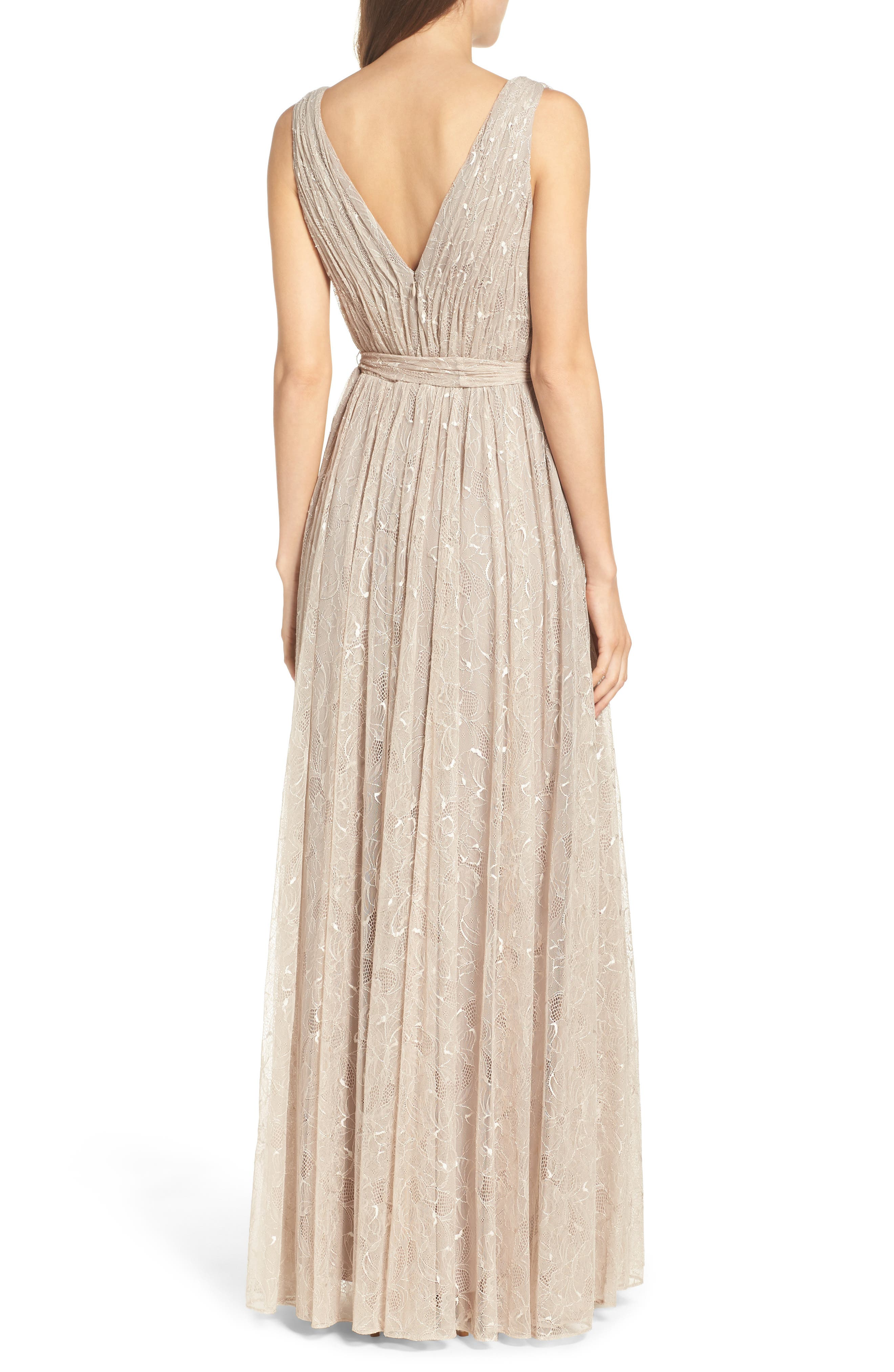 Alternate Image 2  - Vera Wang Lace Fit & Flare Gown