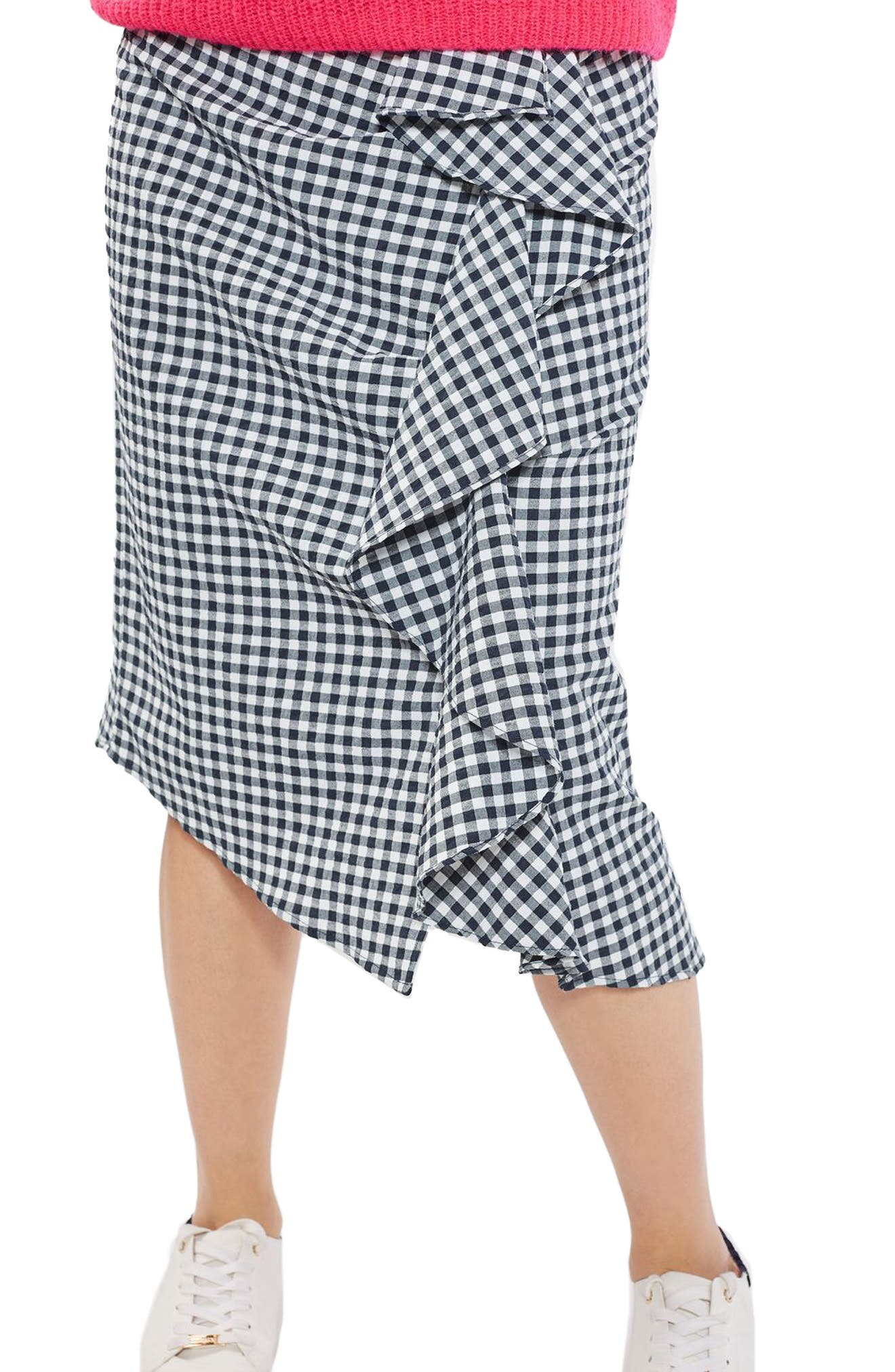 Alternate Image 1 Selected - Topshop Ruffle Gingham Midi Skirt