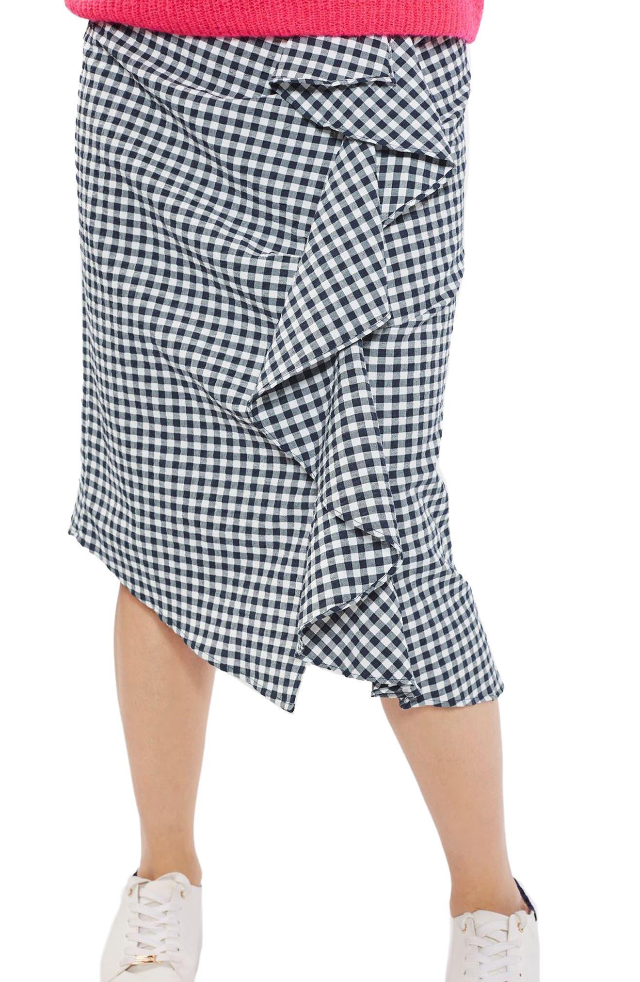 Main Image - Topshop Ruffle Gingham Midi Skirt