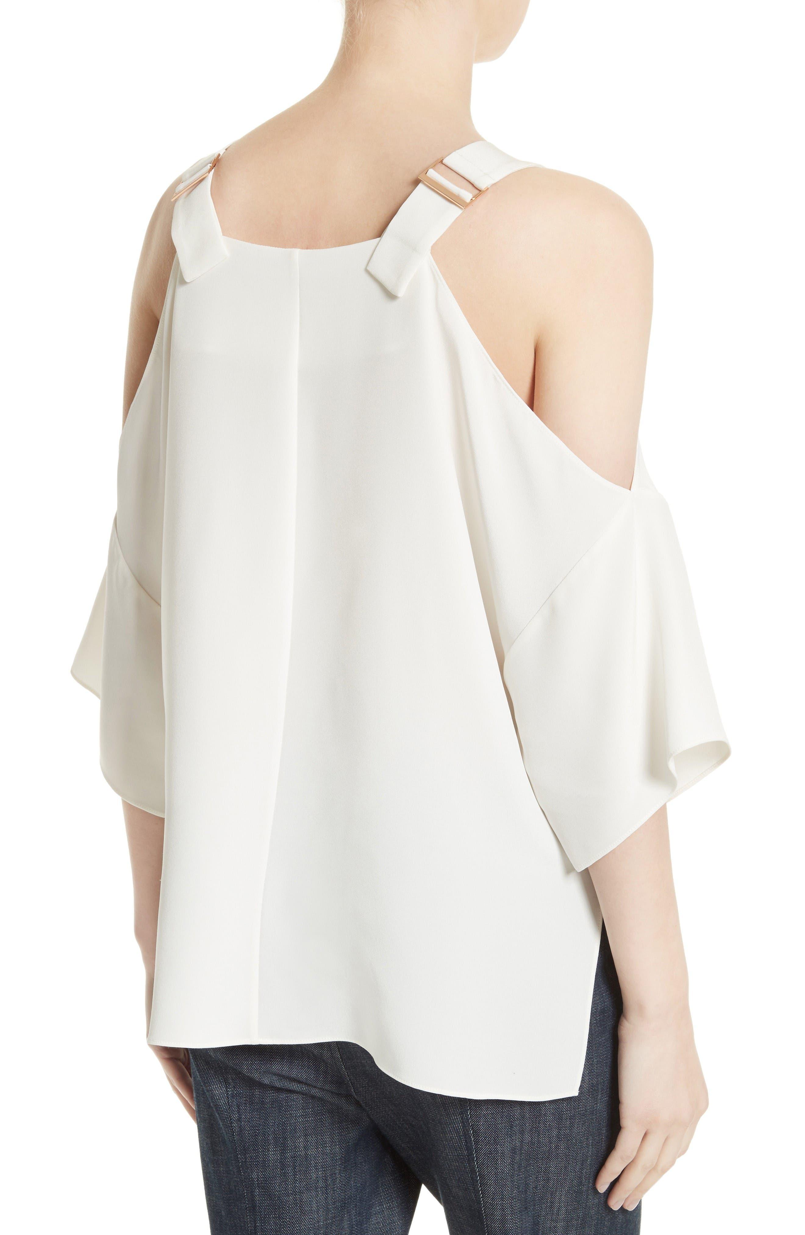 Alternate Image 2  - Tibi Cold Shoulder Silk Blouse