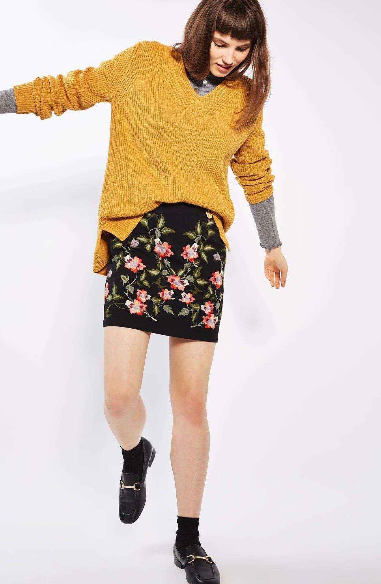 Alternate Image 2  - Topshop Ivy Flower Embroidered Skirt