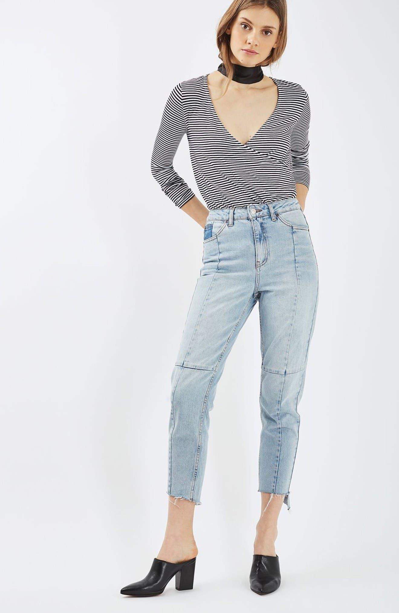 Alternate Image 2  - Topshop Stripe Drape Bodysuit