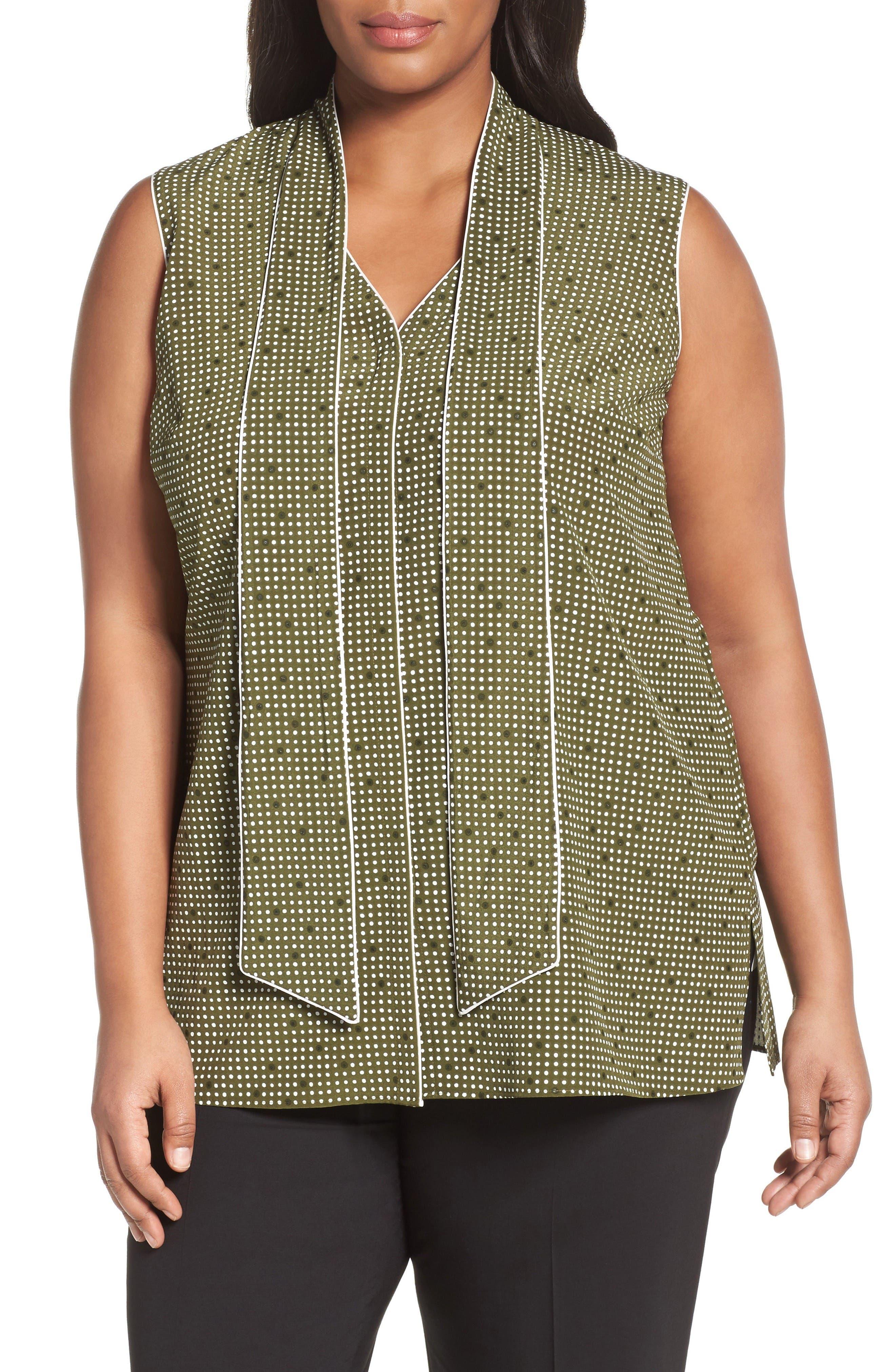 Lafayette 148 New York Dana Print Silk Tie Neck Blouse (Plus Size)
