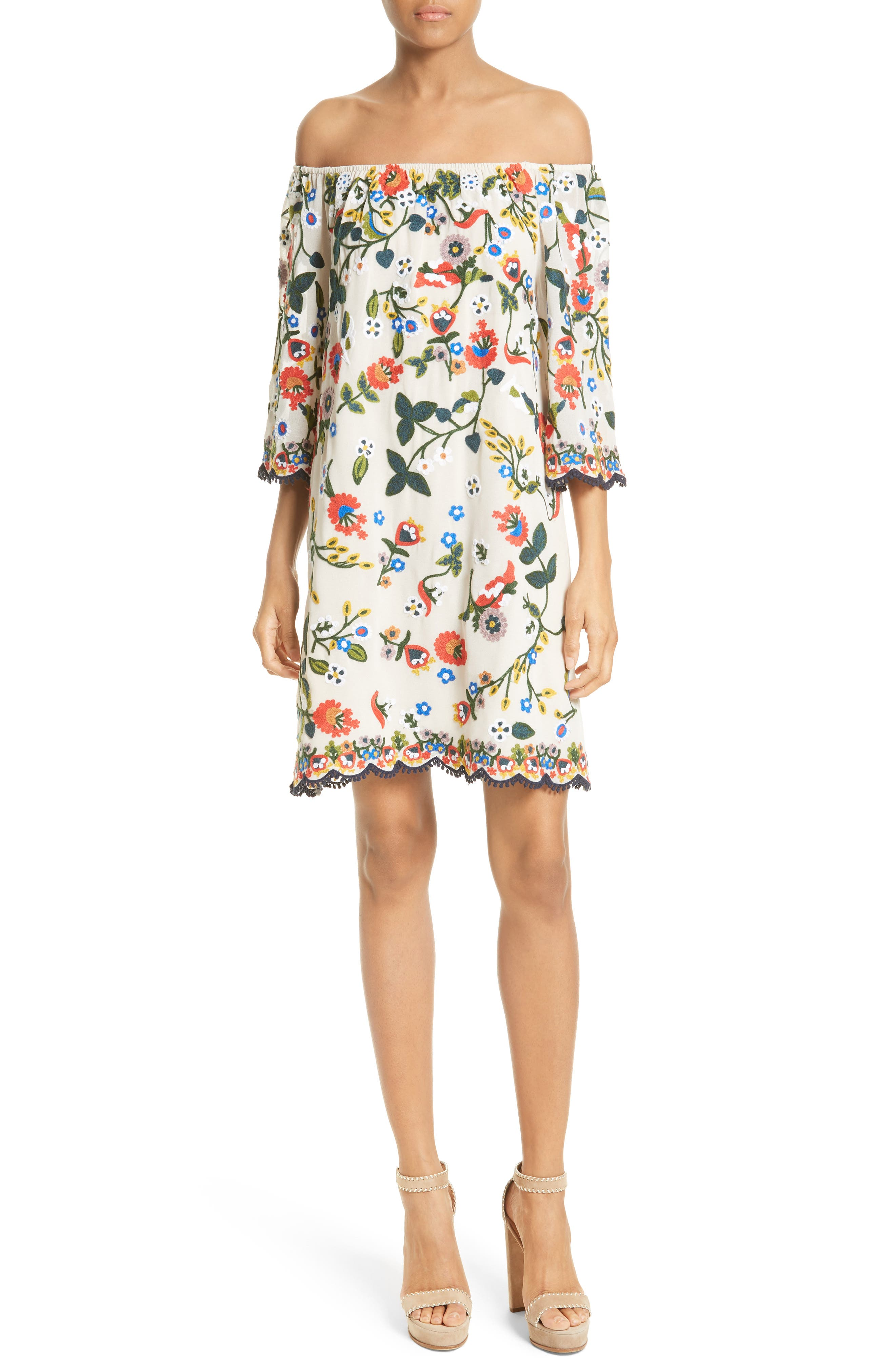 Main Image - Alice + Olivia Christiana Off the Shoulder Shift Dress
